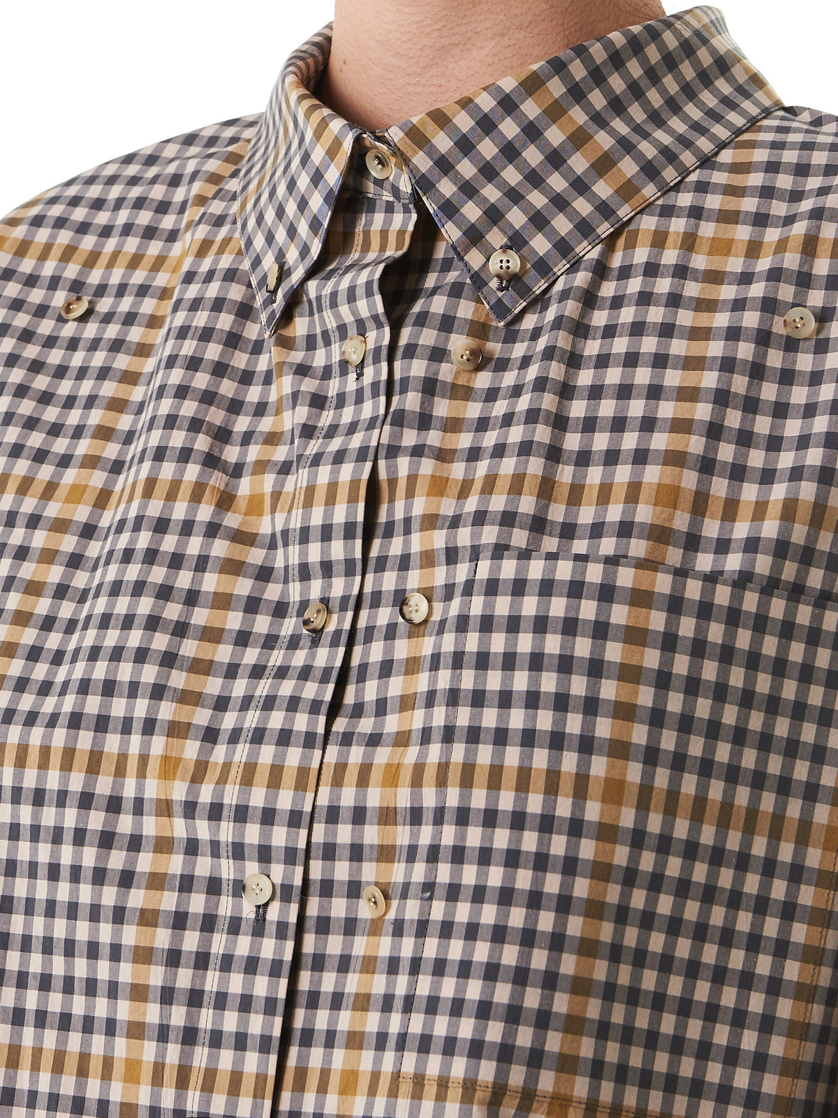 Dual-Buttoned Checkered Shirt (19S83001-LIGHT-BEIGE) - H. Lorenzo