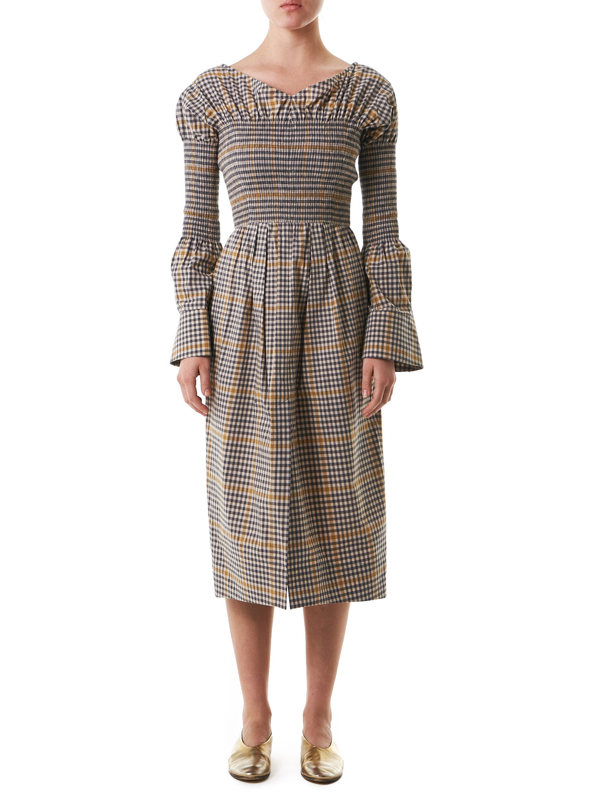 Checkered Dress (19S85001-LIGHT-BEIGE) - H. Lorenzo