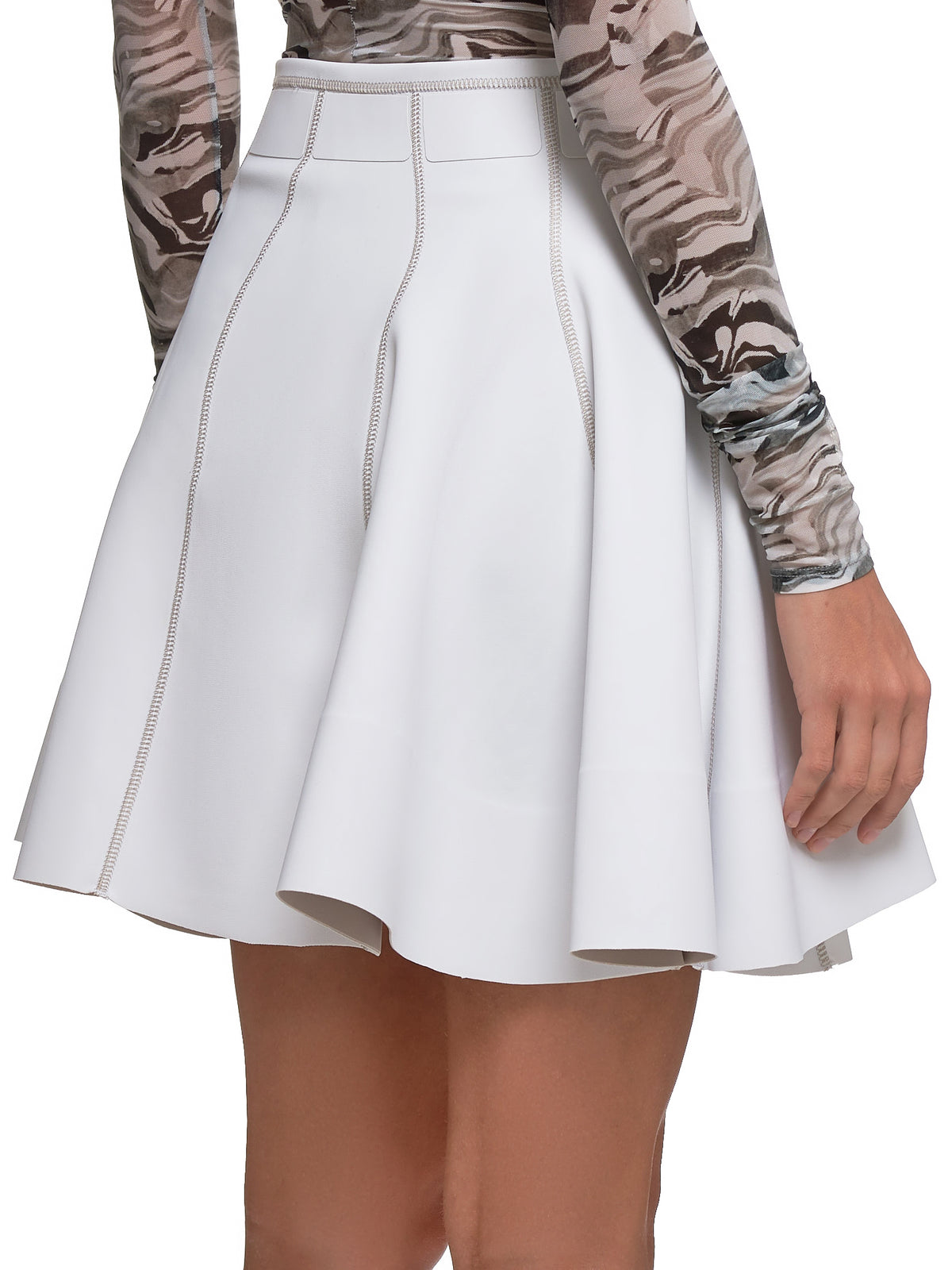 Faux Leather Skirt (19W-1-JU0458662-WHITE-BEIGE)