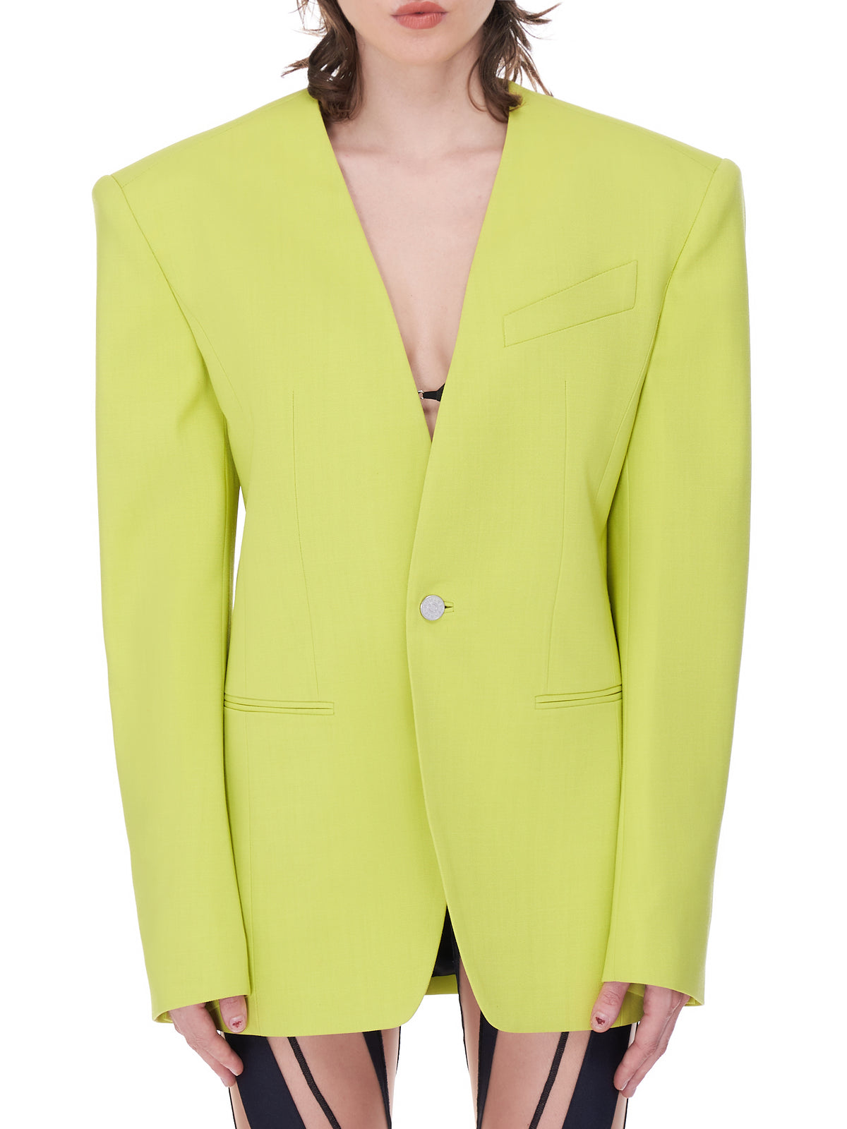 Oversized Collarless Jacket (1VE0342180-LIME-GREEN)