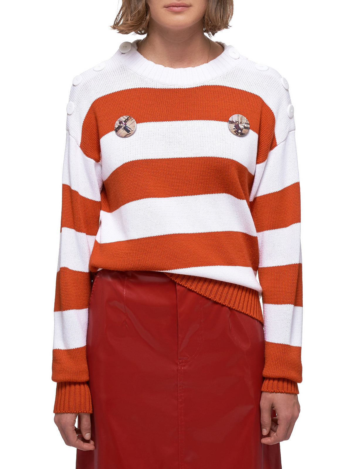Striped Sweater (20-21-W-RED-WHITE-STRIPE)