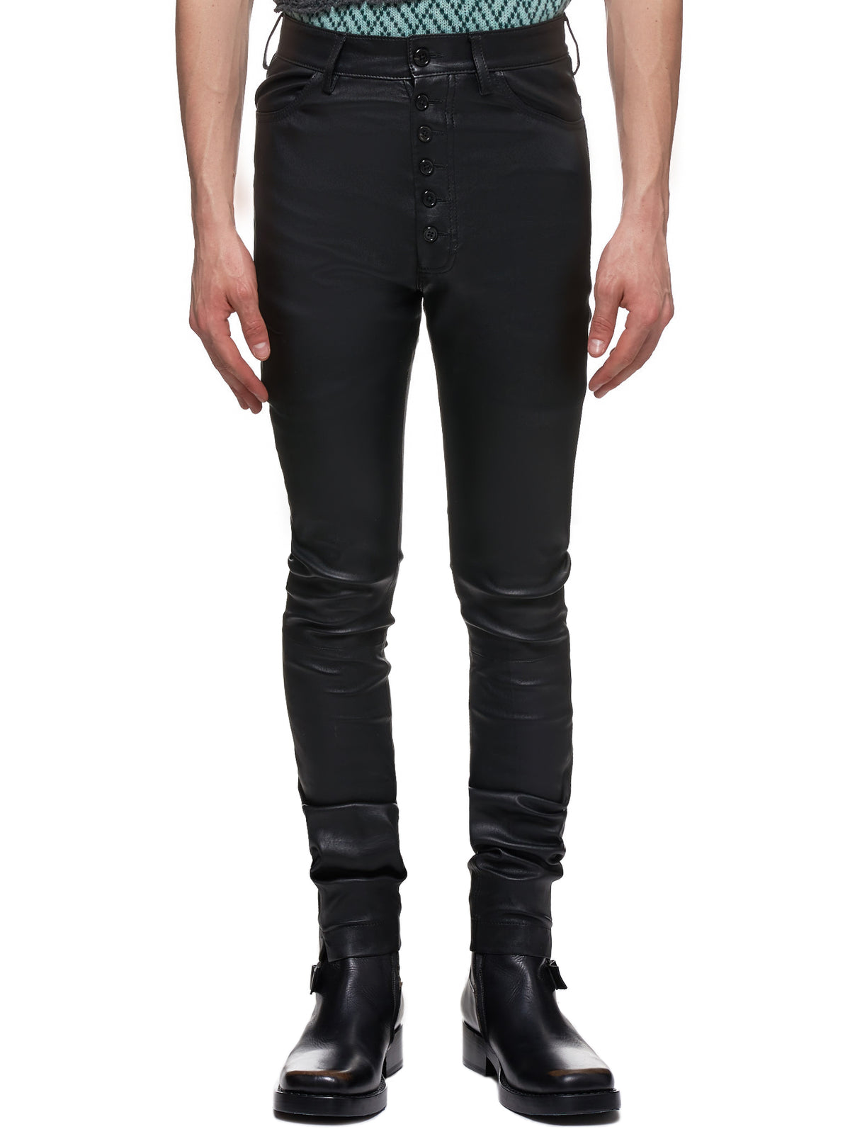 Ann Demeulemeester Leather Pants - Hlorenzo Front