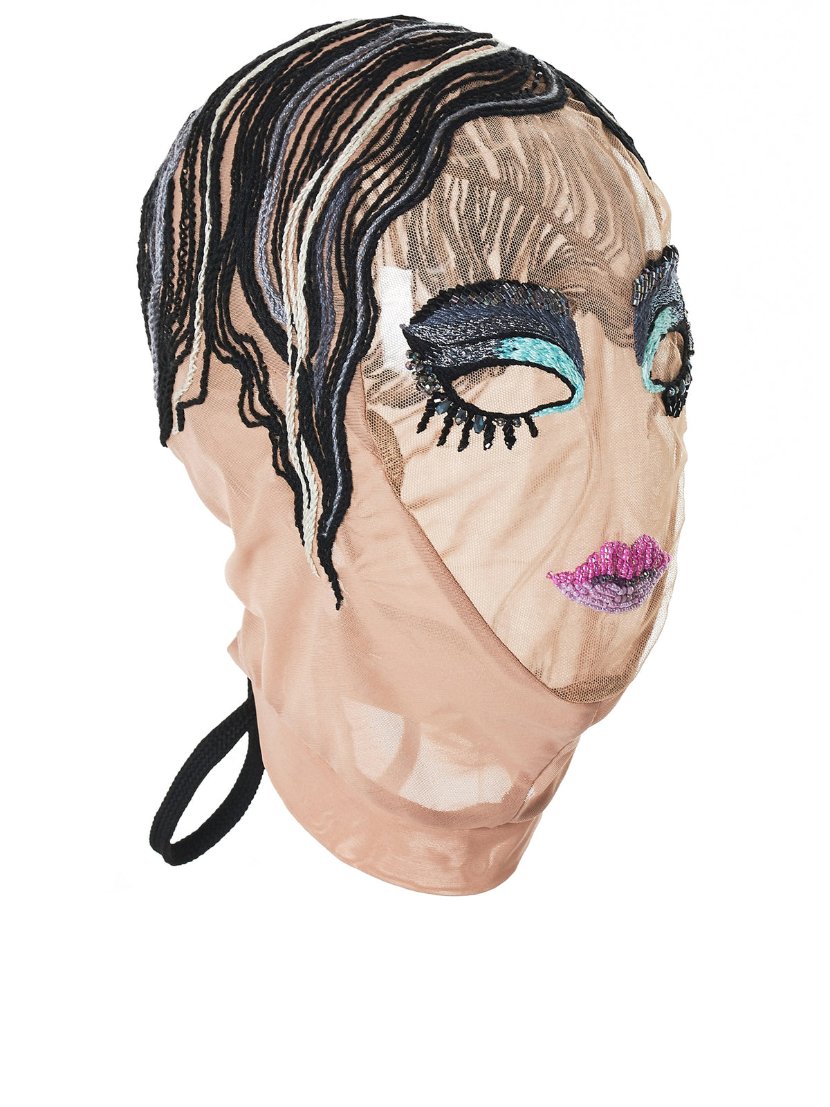 Beaded Makeup Mask (2001-BKNT-NUDE-GREY)