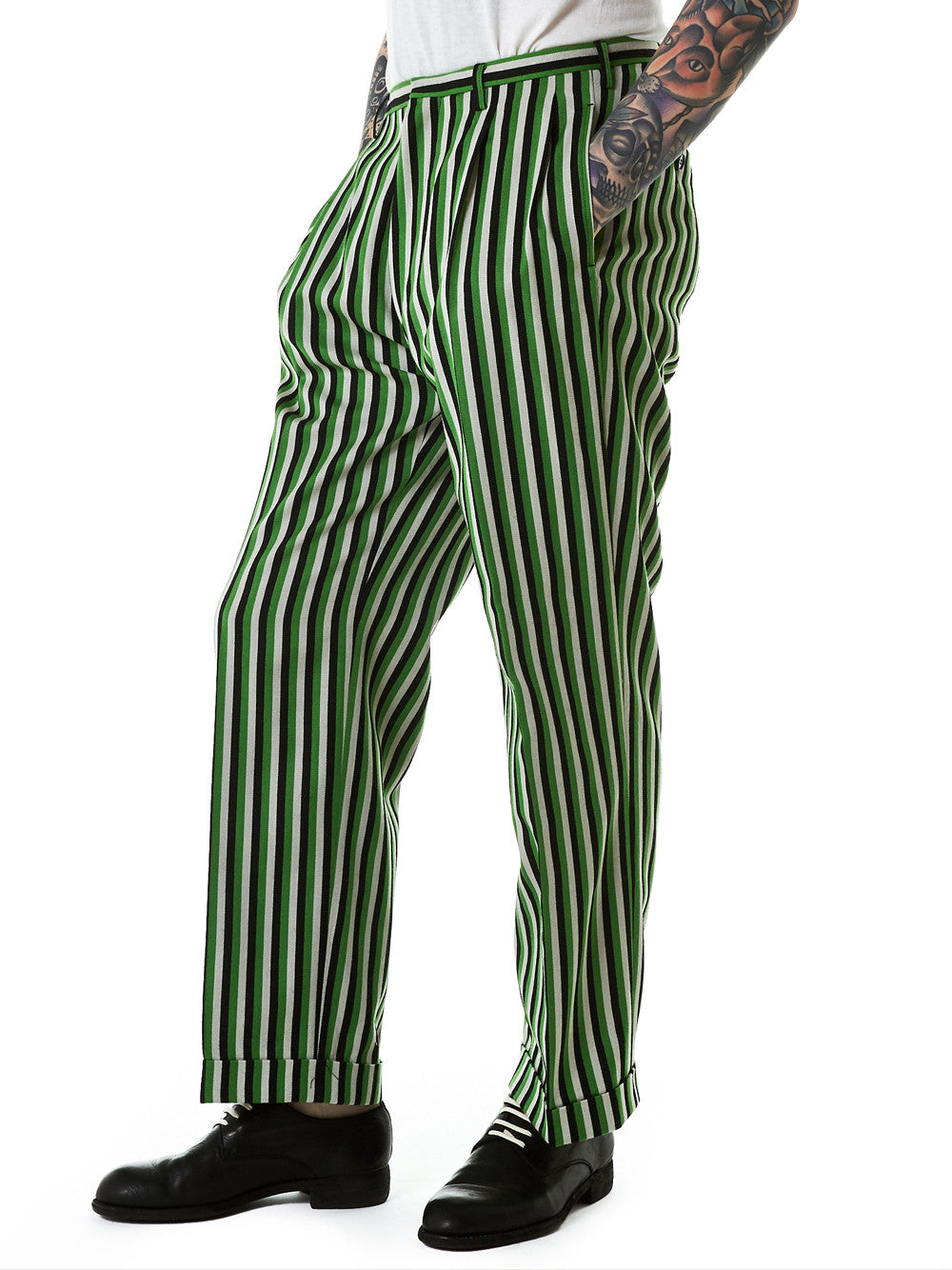 Striped Trousers (2004-DREAM-BLACK-GREEN) - H. Lorenzo
