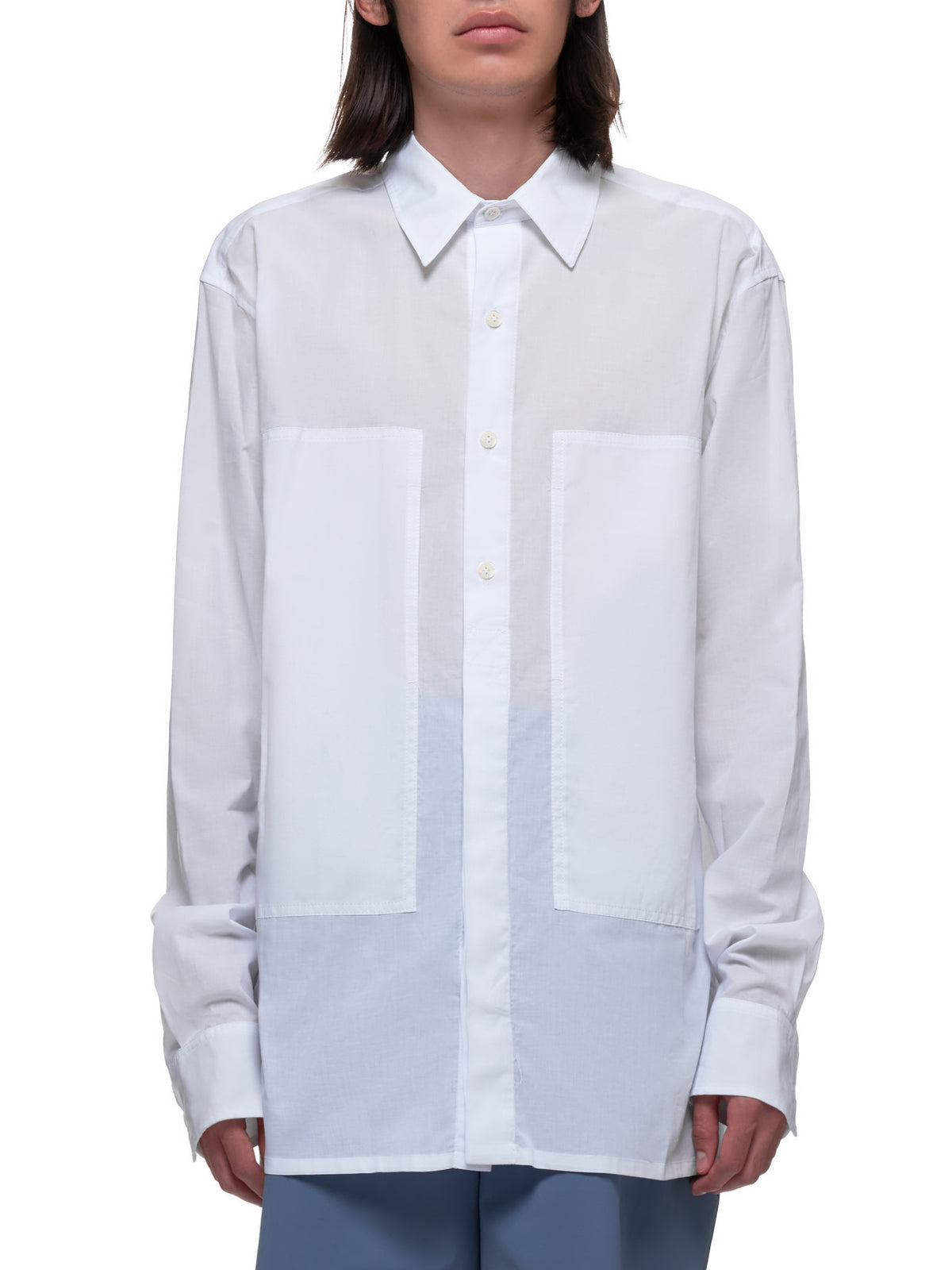 Layered Smock Panel Button Down Shirt (2007-3602-120-001-WHITE)