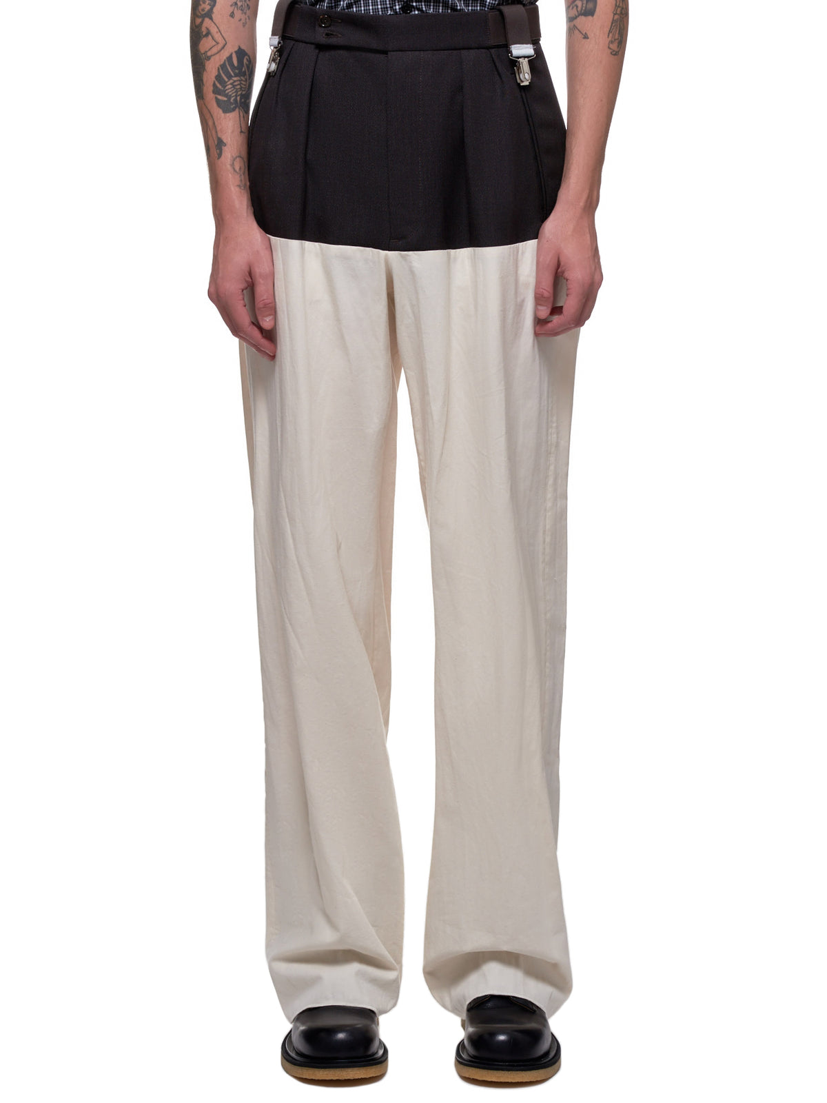 Wide Fit Suspender Trousers (201-344-DARK-BROWN-ECRU)