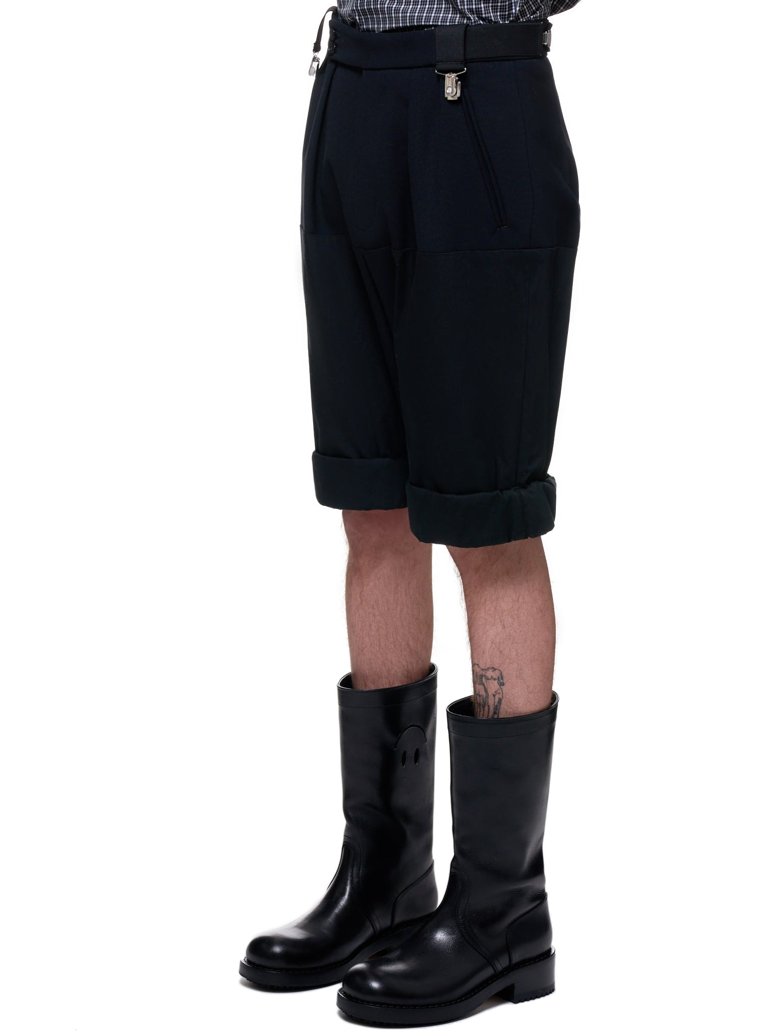 Wool Rolled Up Wide-Fit Shorts (201-345-BLACK)