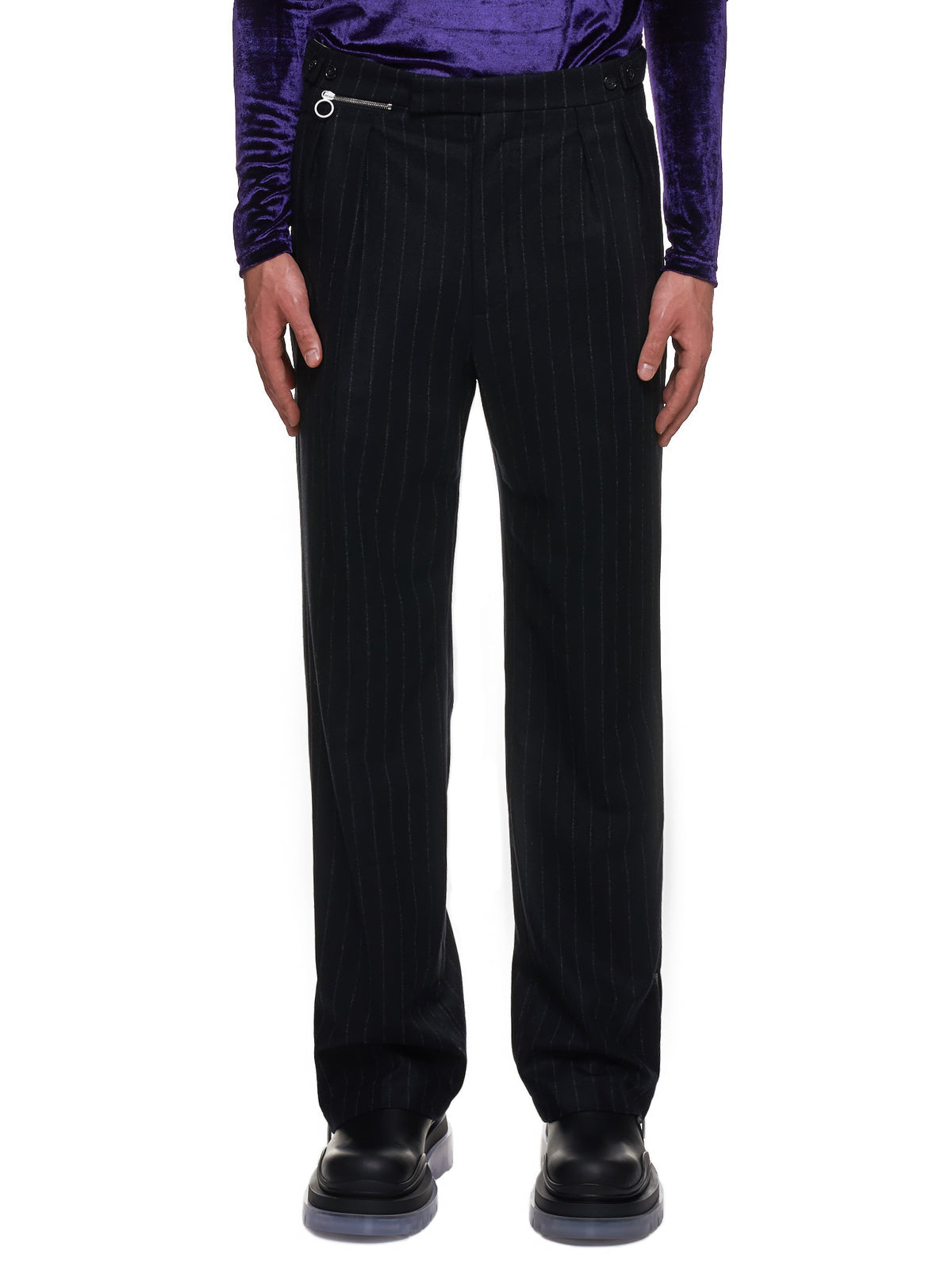 Pinstripe Ankle Zip-Up Trousers (202-343A-20001-BLACK-GREY)