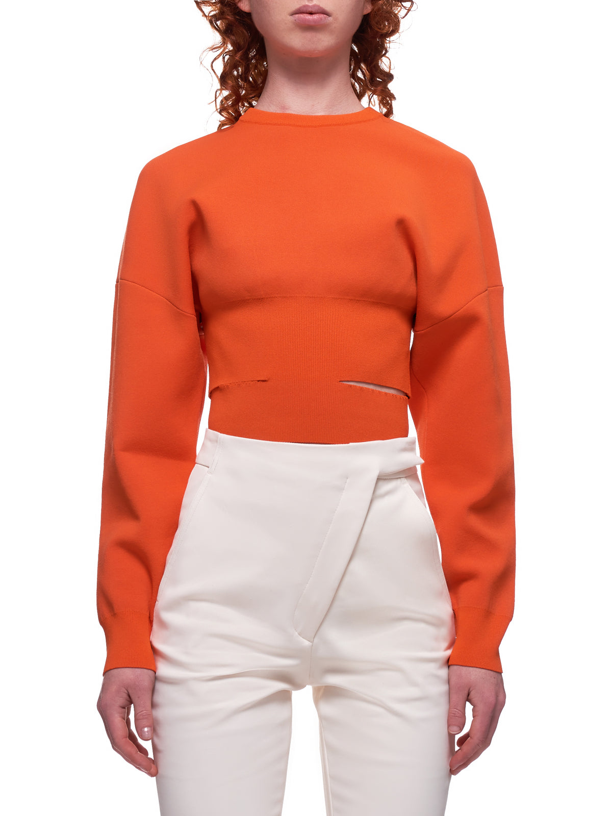 Knitted Slit Sweater (203-2604-269-072-ORANGE)