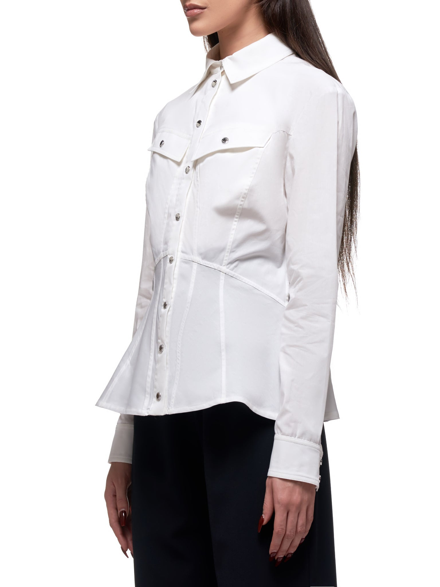 Bias Cut Panelled Shirt (2032-100-9150-OFF-WHITE)
