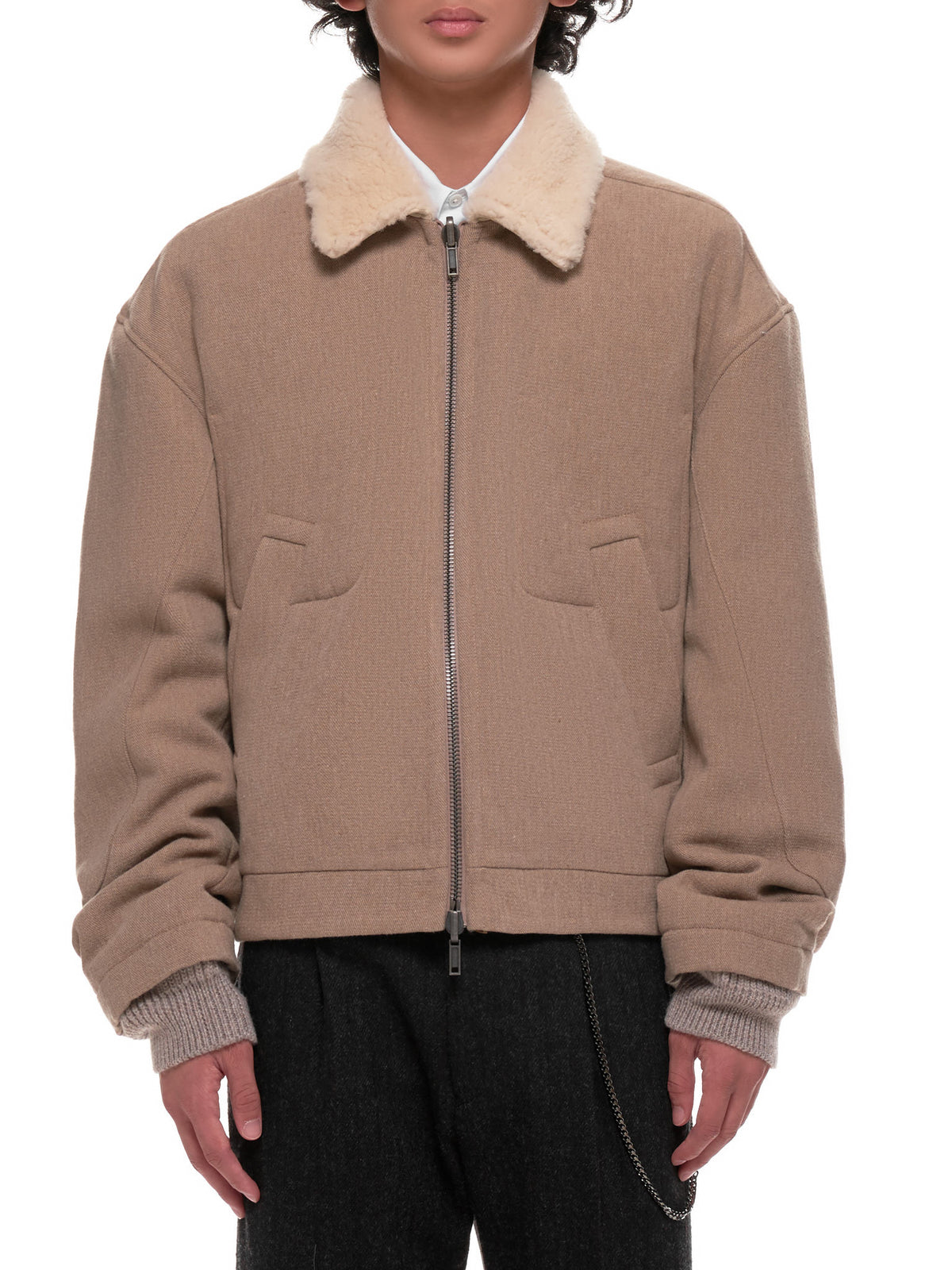Wool Bomber Jacket (204-3018-204-007-BROWN)