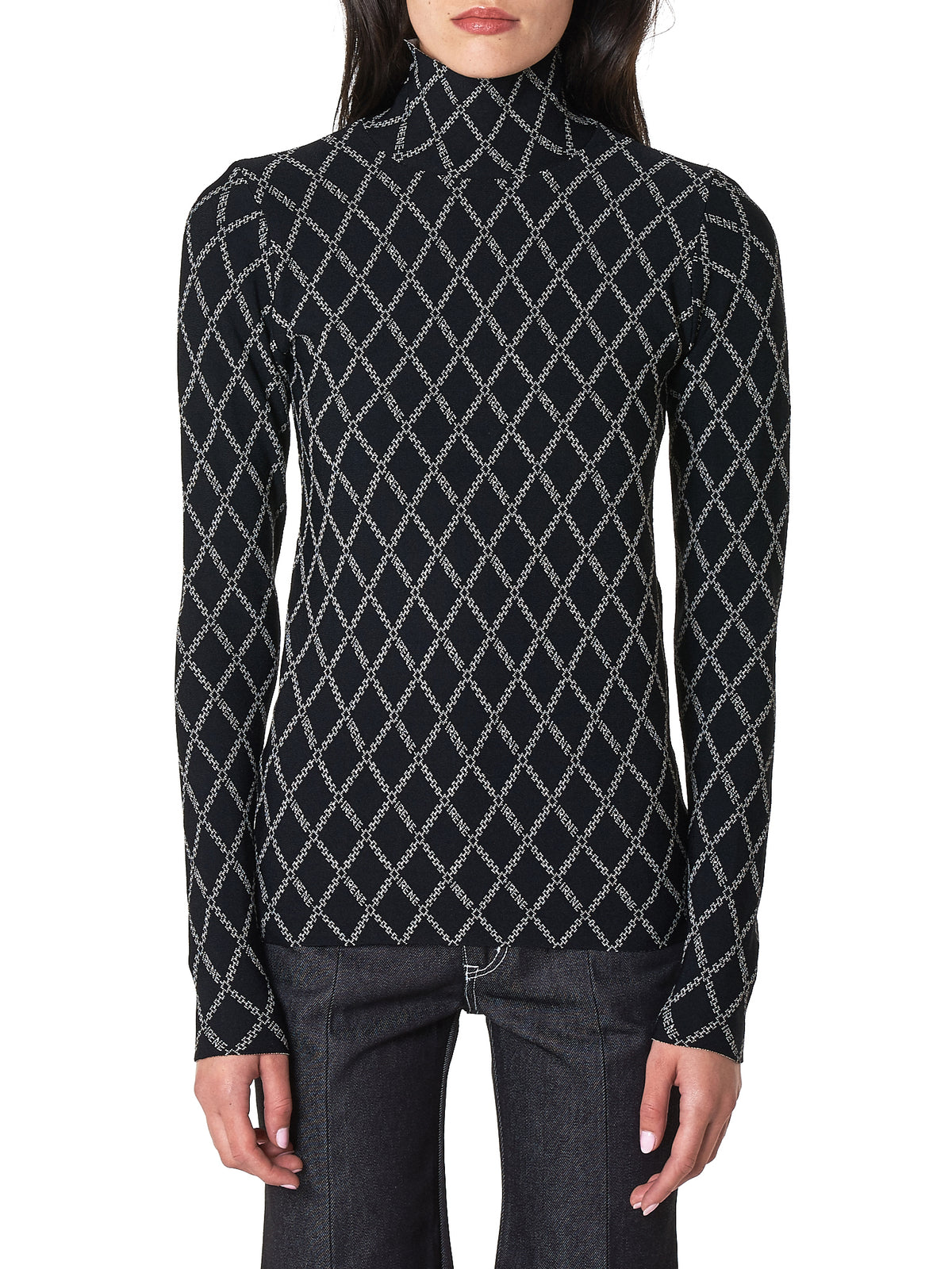 Diamond Logo Turtleneck Top (20A81003-BLACK)