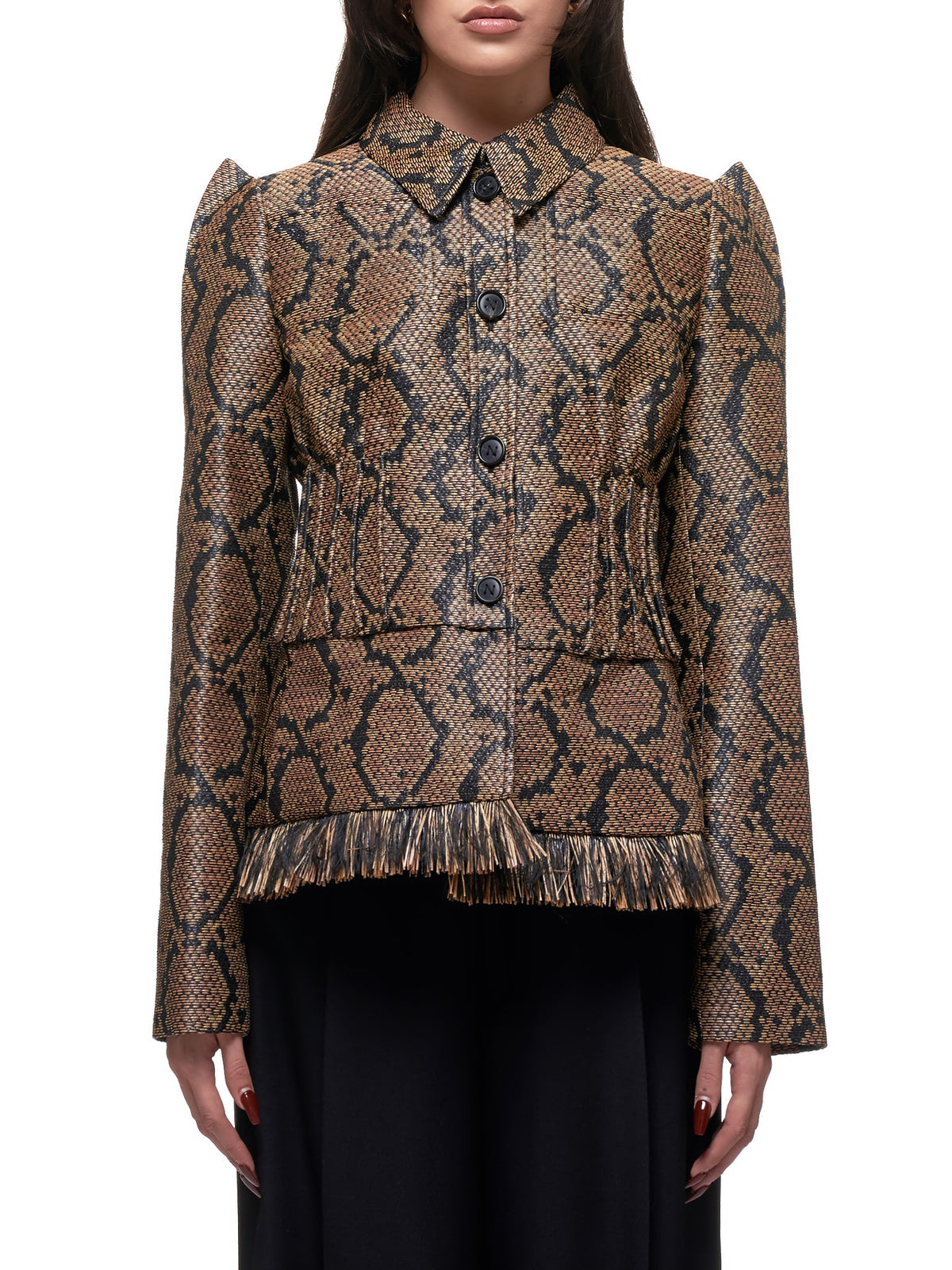 Snake-Print Woven Jacket (20ECVE028PA0427-BROWN-BLACK)
