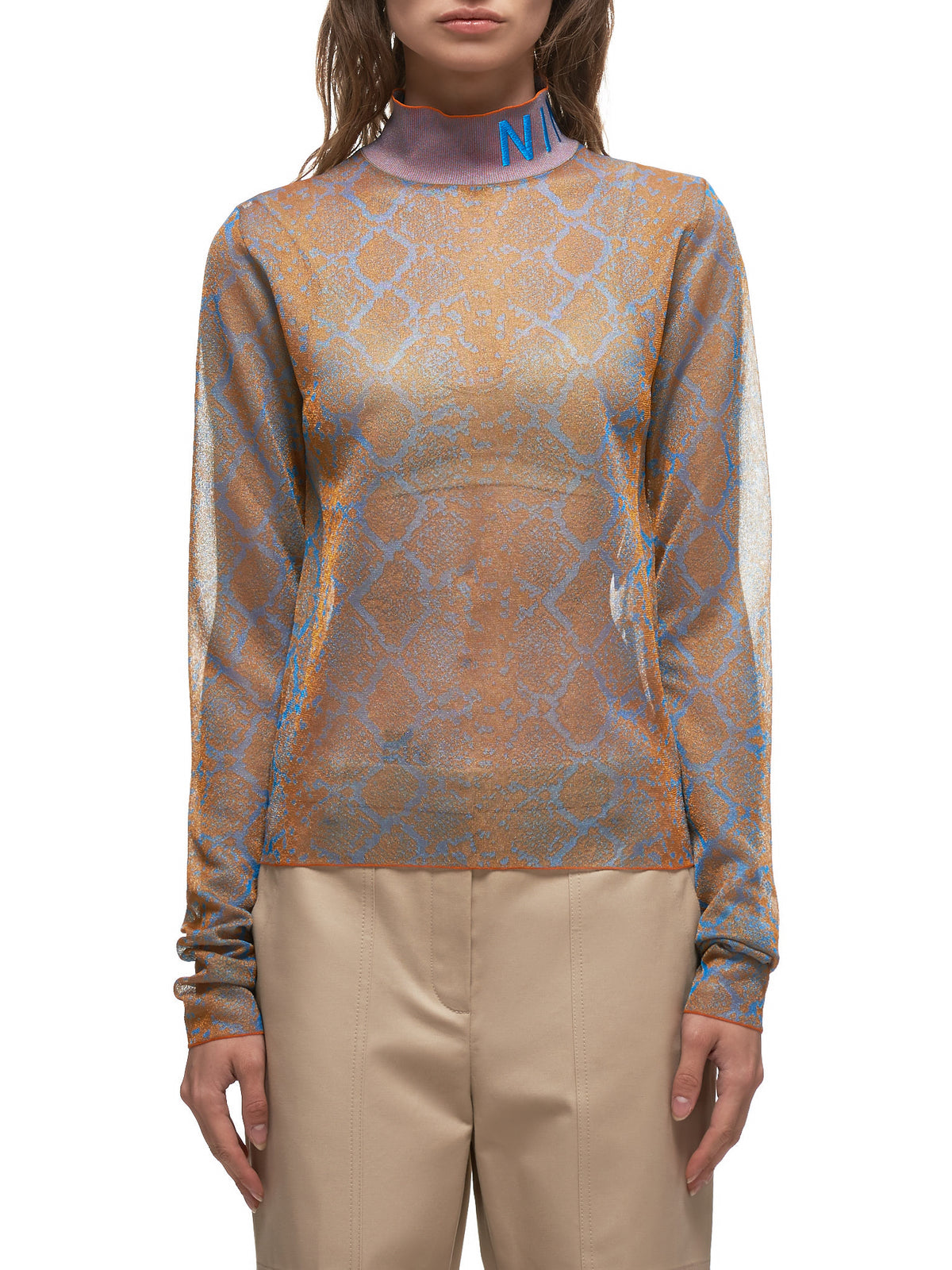Maille Knitted Mock Neck Long Sleeve (20EMPU033ML0442-ORANGE-BLUE)