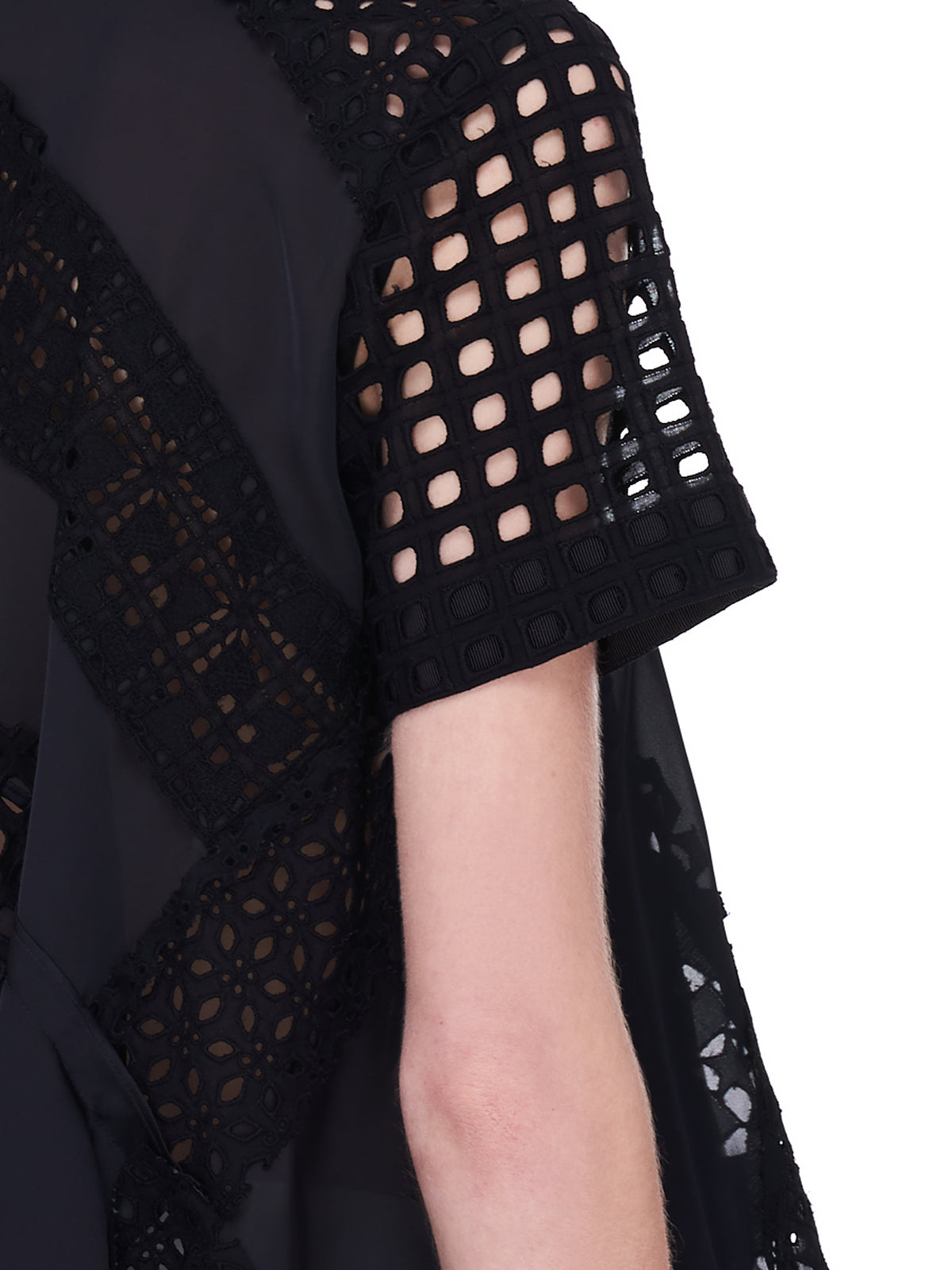 Black Star Lace Drape Blouse (21-05466-BLACK)