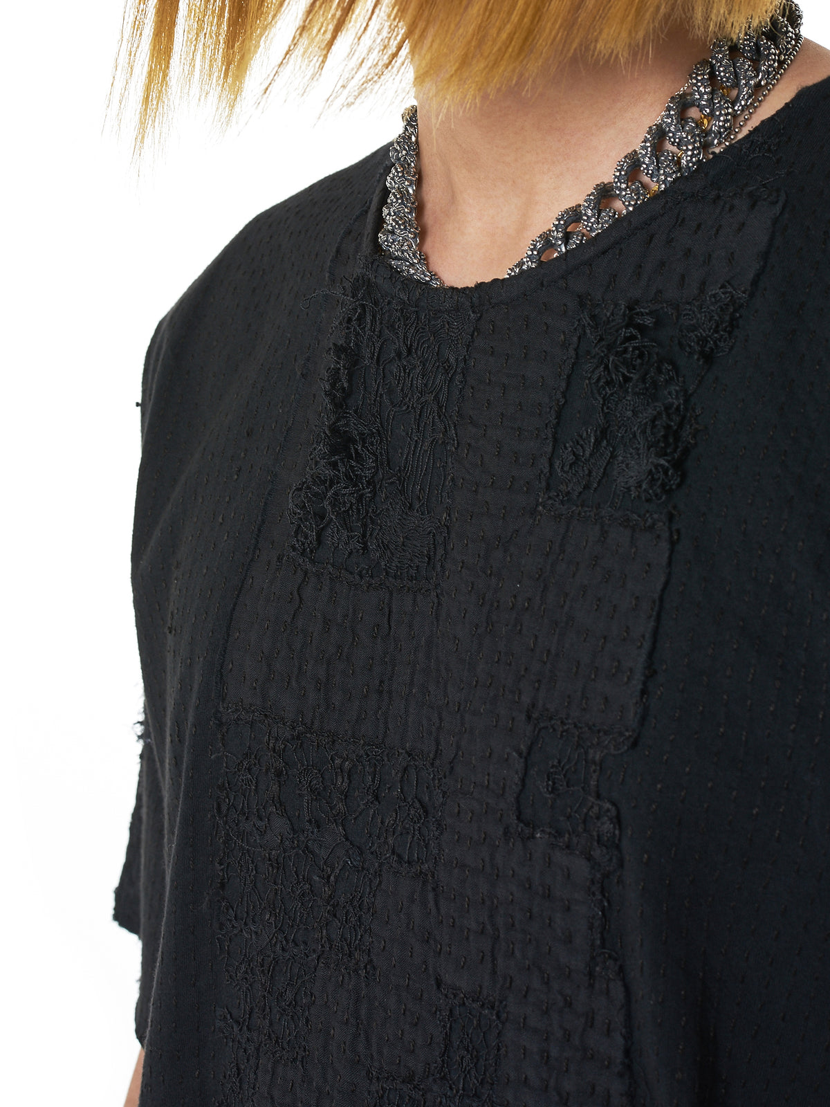Lace Jersey Patchwork Tee (210151M-BLACK)