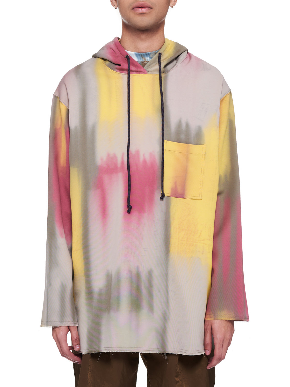 Tie-Dye Raw Patch Pocket Hoodie (211-MJP014-MULTI)