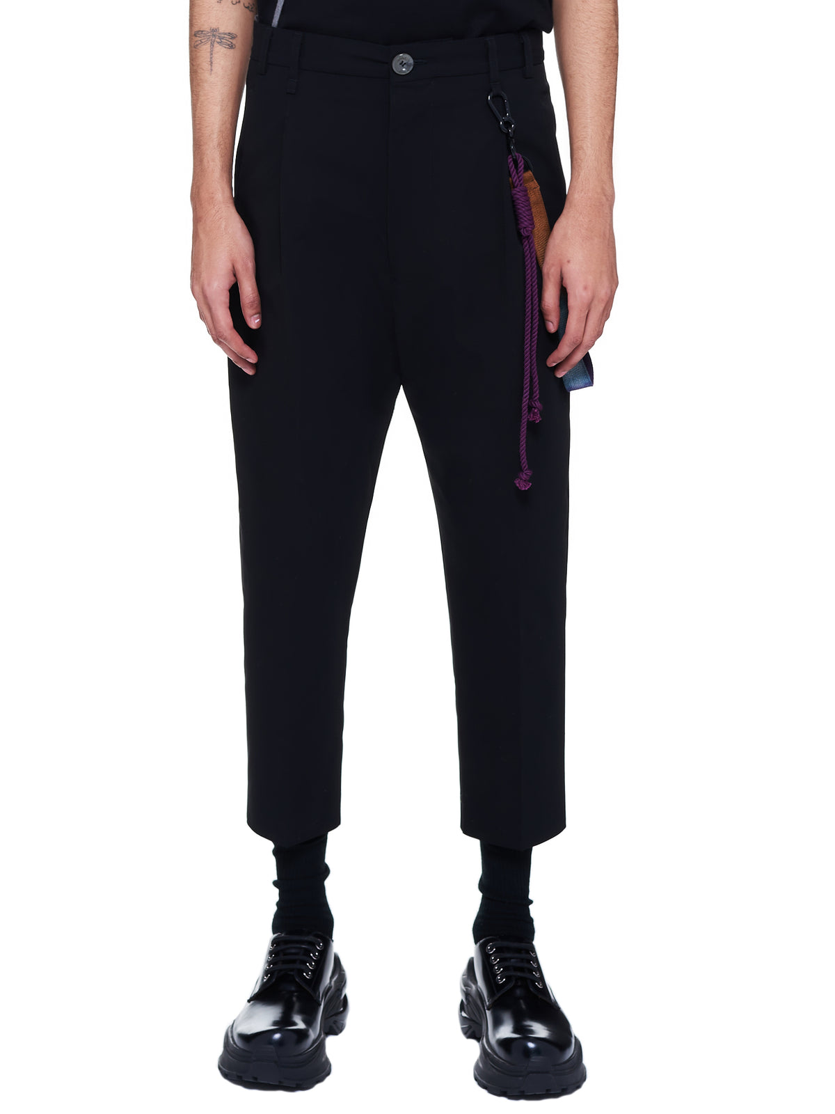 Pleated Tapered Trousers (211-MPT037-BLACK)