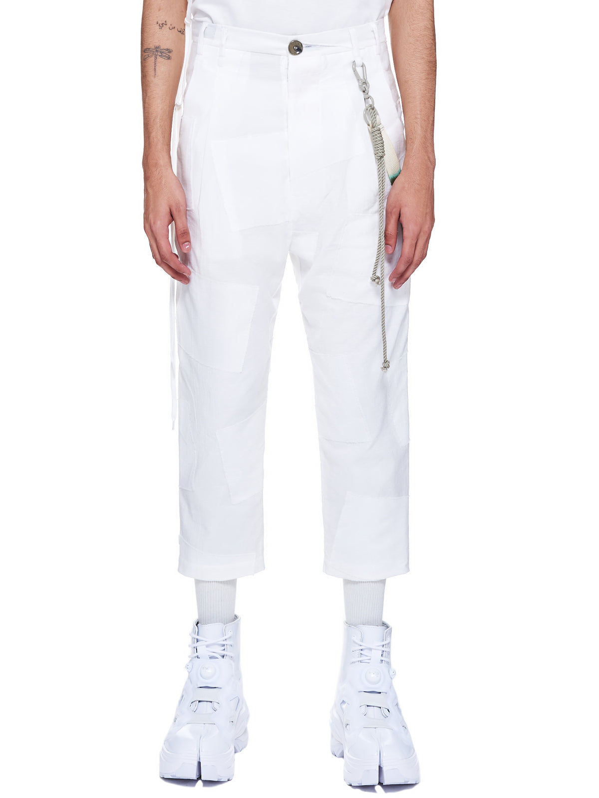 Pleated Patchwork Tapered Trousers (211-MPT037L-WHITE)