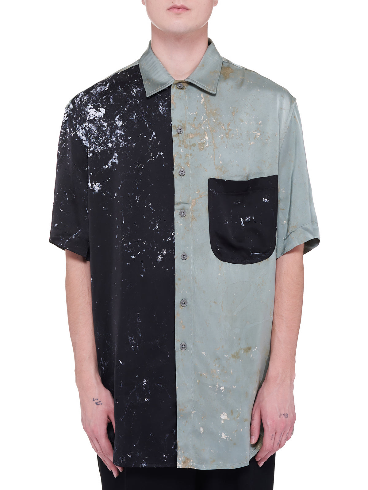 S/S Oversized Shirt (211-MSH059-TEAL-BLACK)