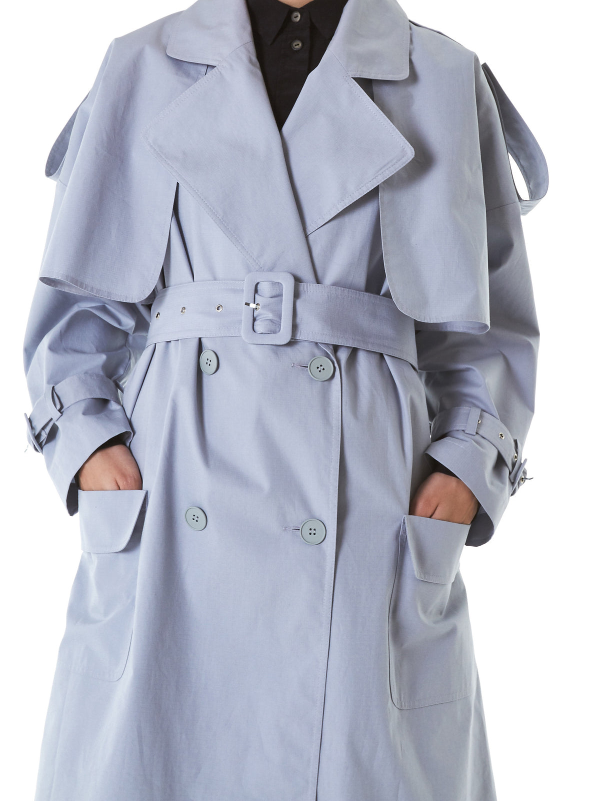 Silk-Lined Trench Coat (22067-GREY) - H. Lorenzo
