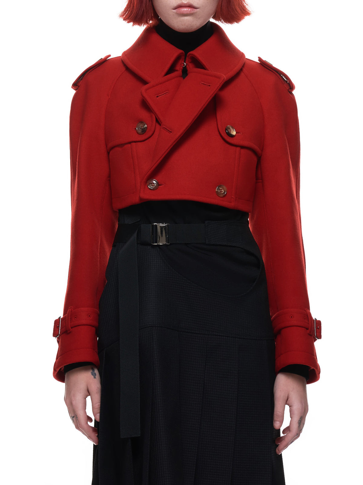 Cropped Band Jacket (JF-J043-051-RED)