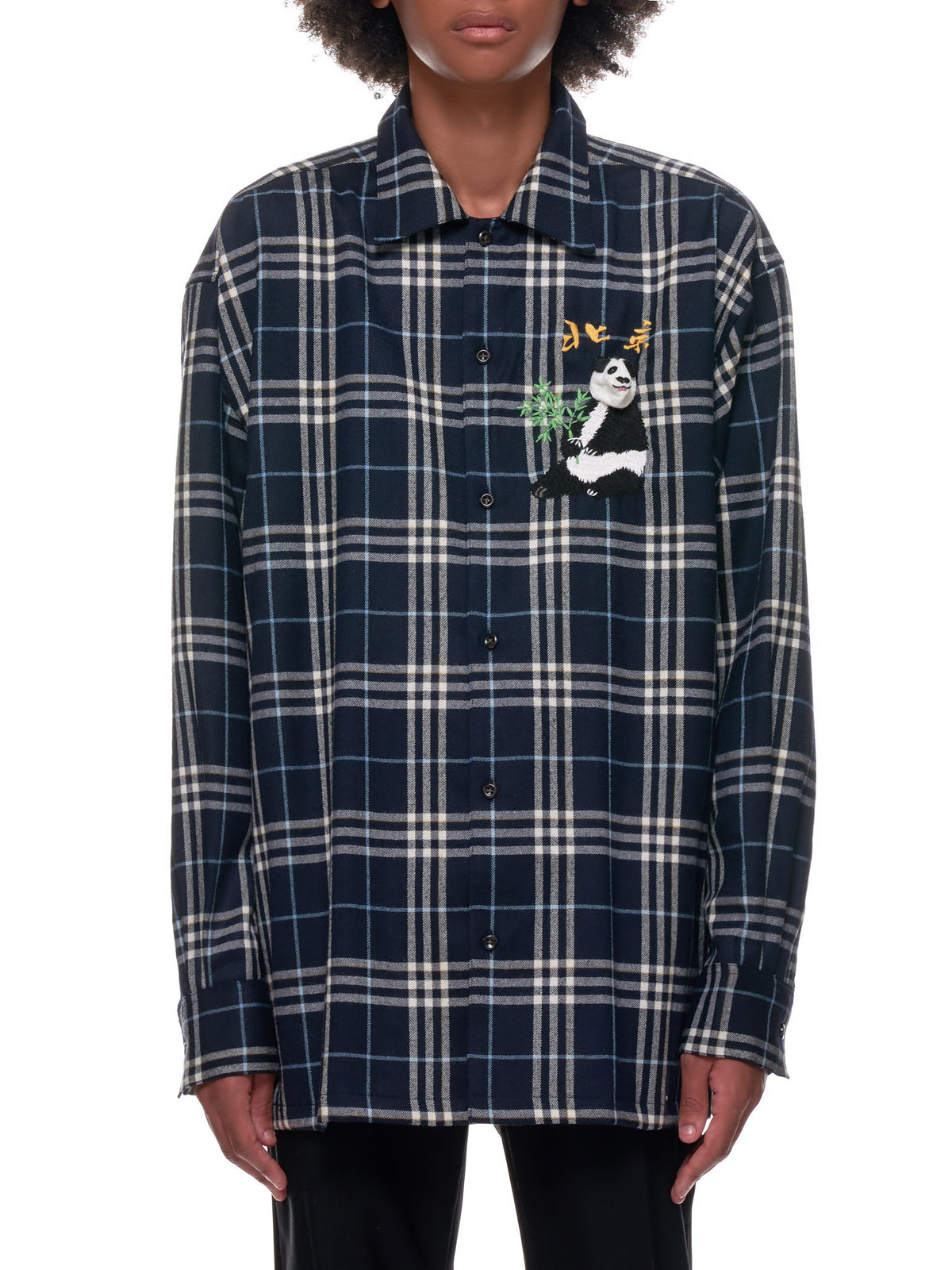 Puppet Animal Embroidery Check Shirt (25SH85-NAVY)