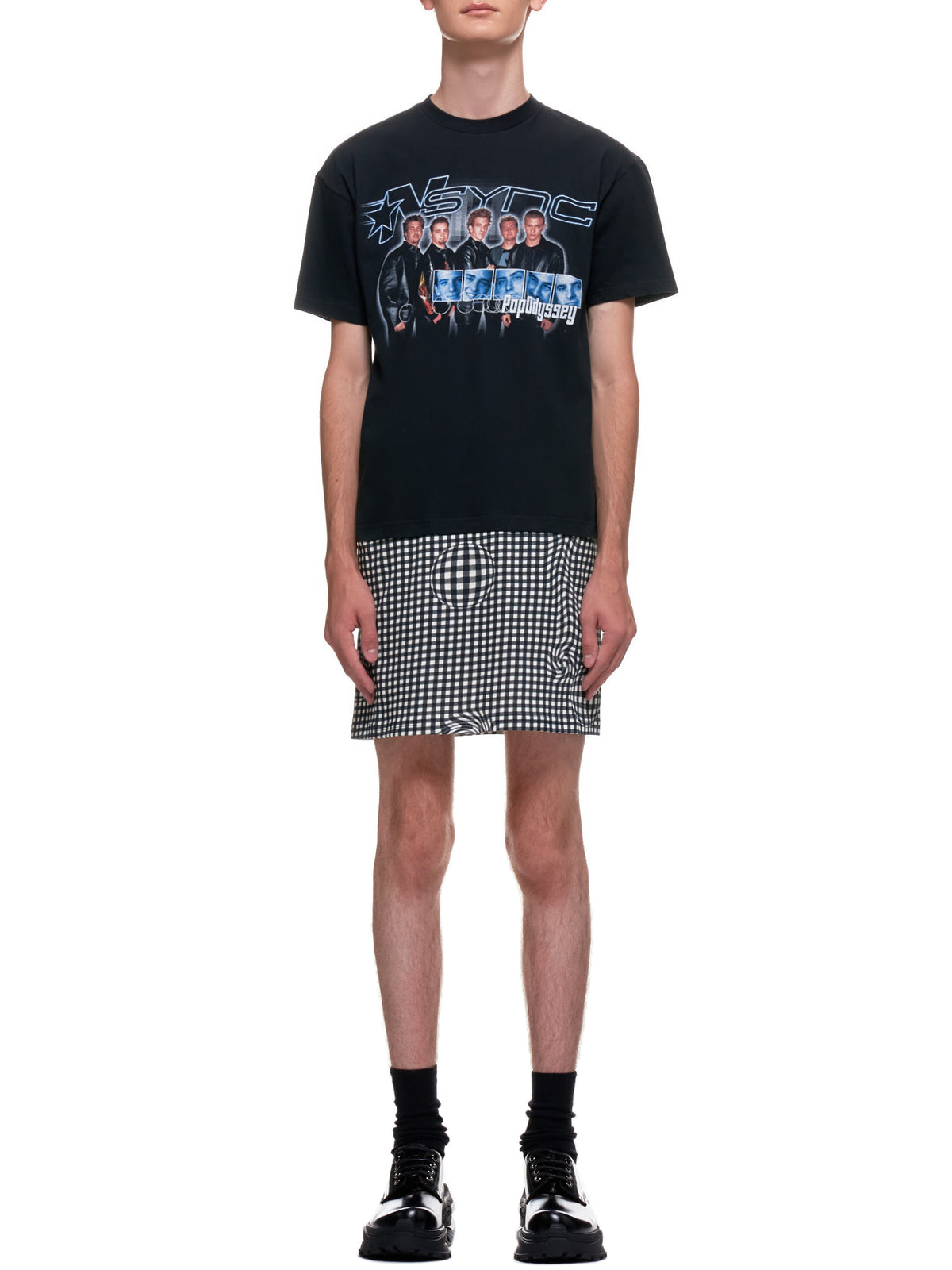 Distorted Gingham Vintage Boyband T-Shirt (EP2-NA-BLK-POP-ODYSSEY)