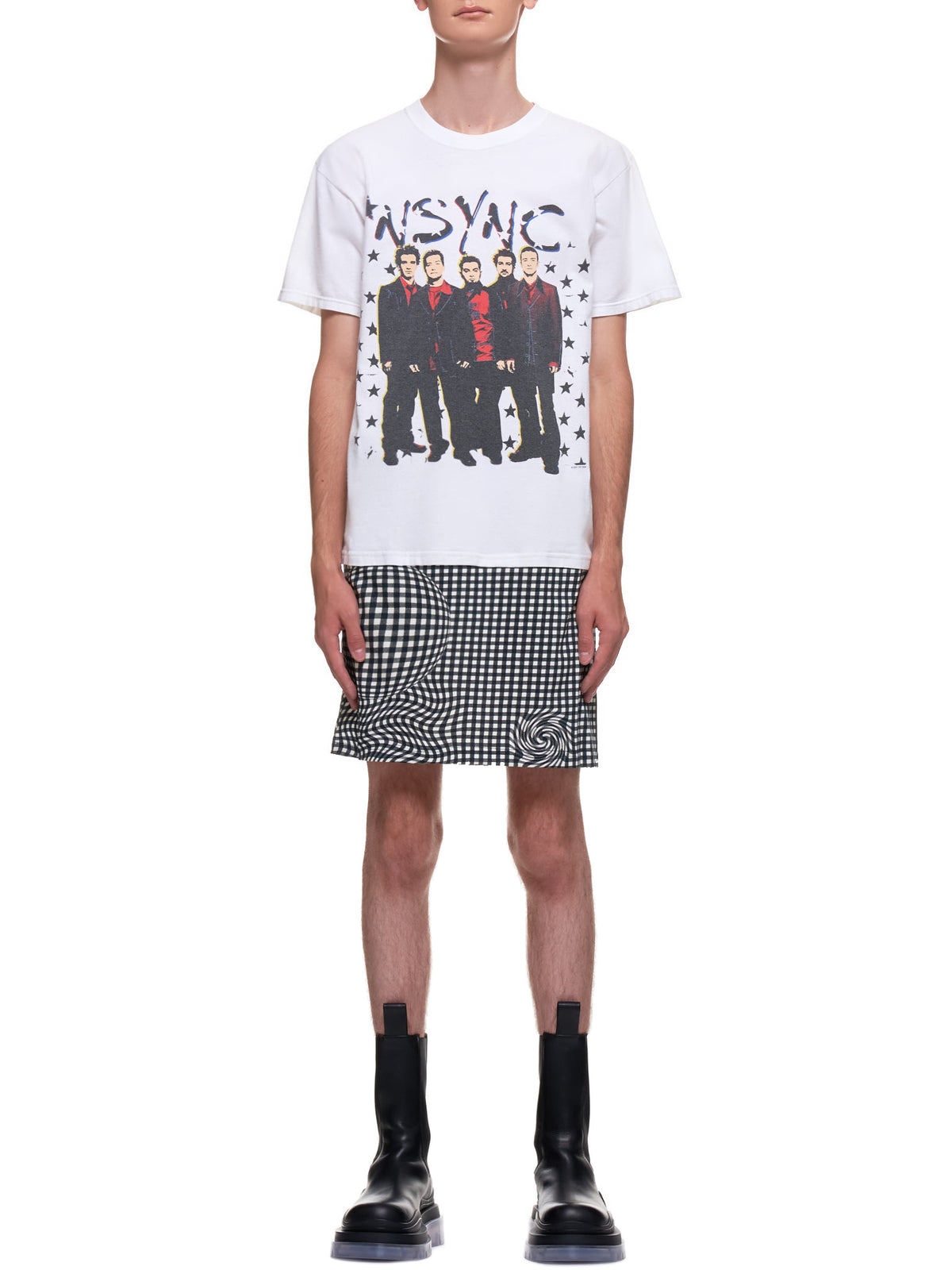 Distorted Gingham Vintage Boyband T-Shirt (EP2-NA-WHT-RED-NYSNC)