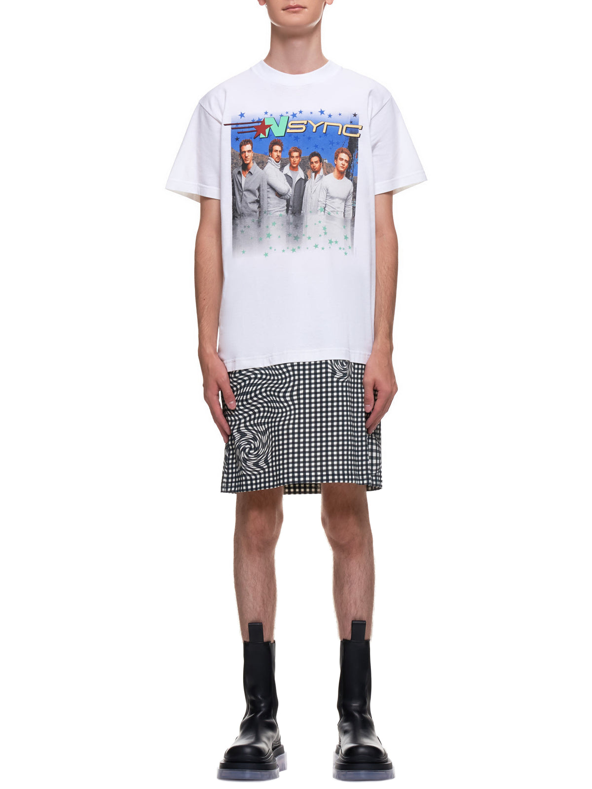 Distorted Gingham Vintage Boyband T-Shirt (EP2-NA-WHT-MULTI-NSYNC)