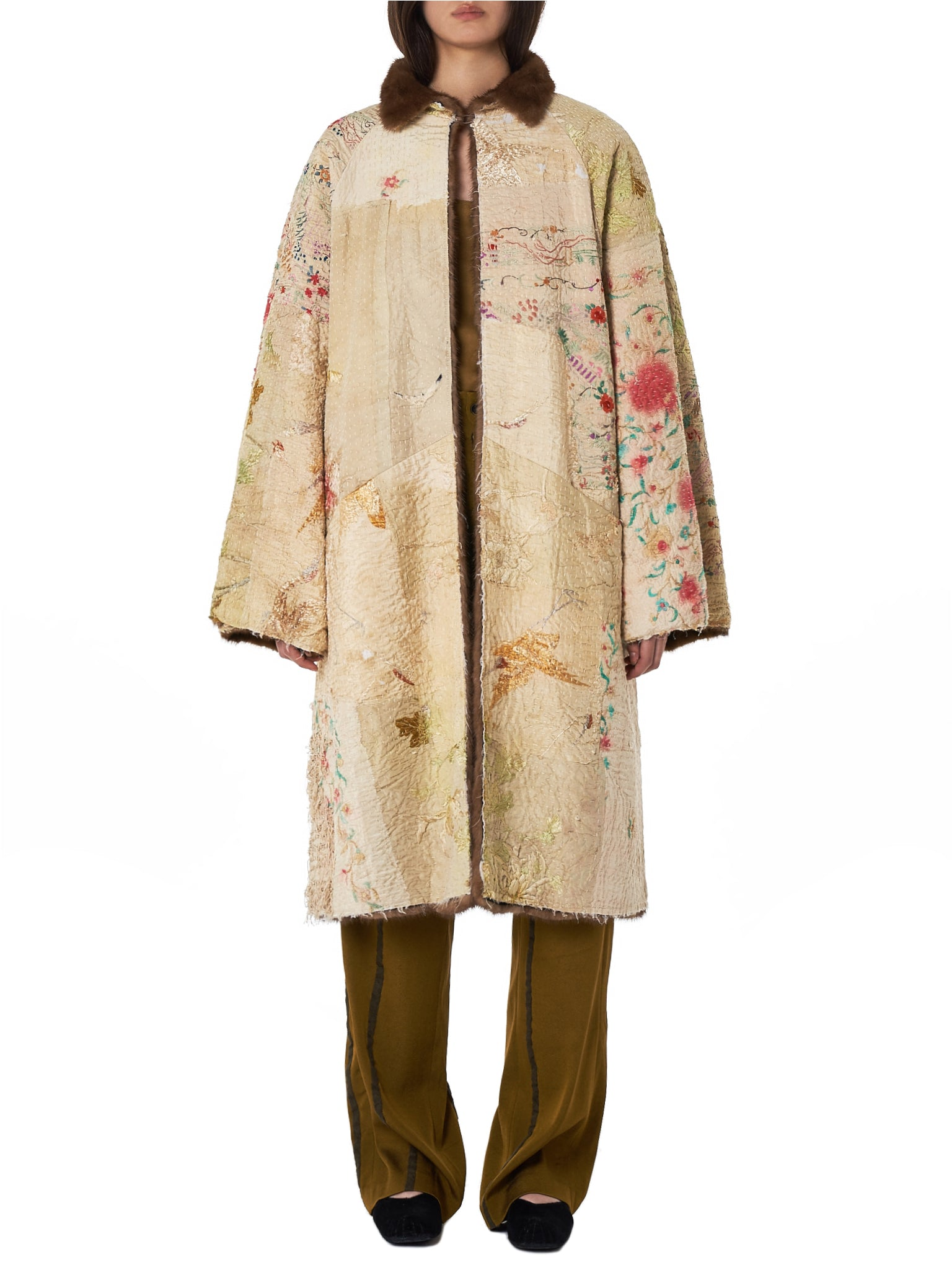 By Walid Fur Silk Coat - Hlorenzo Front