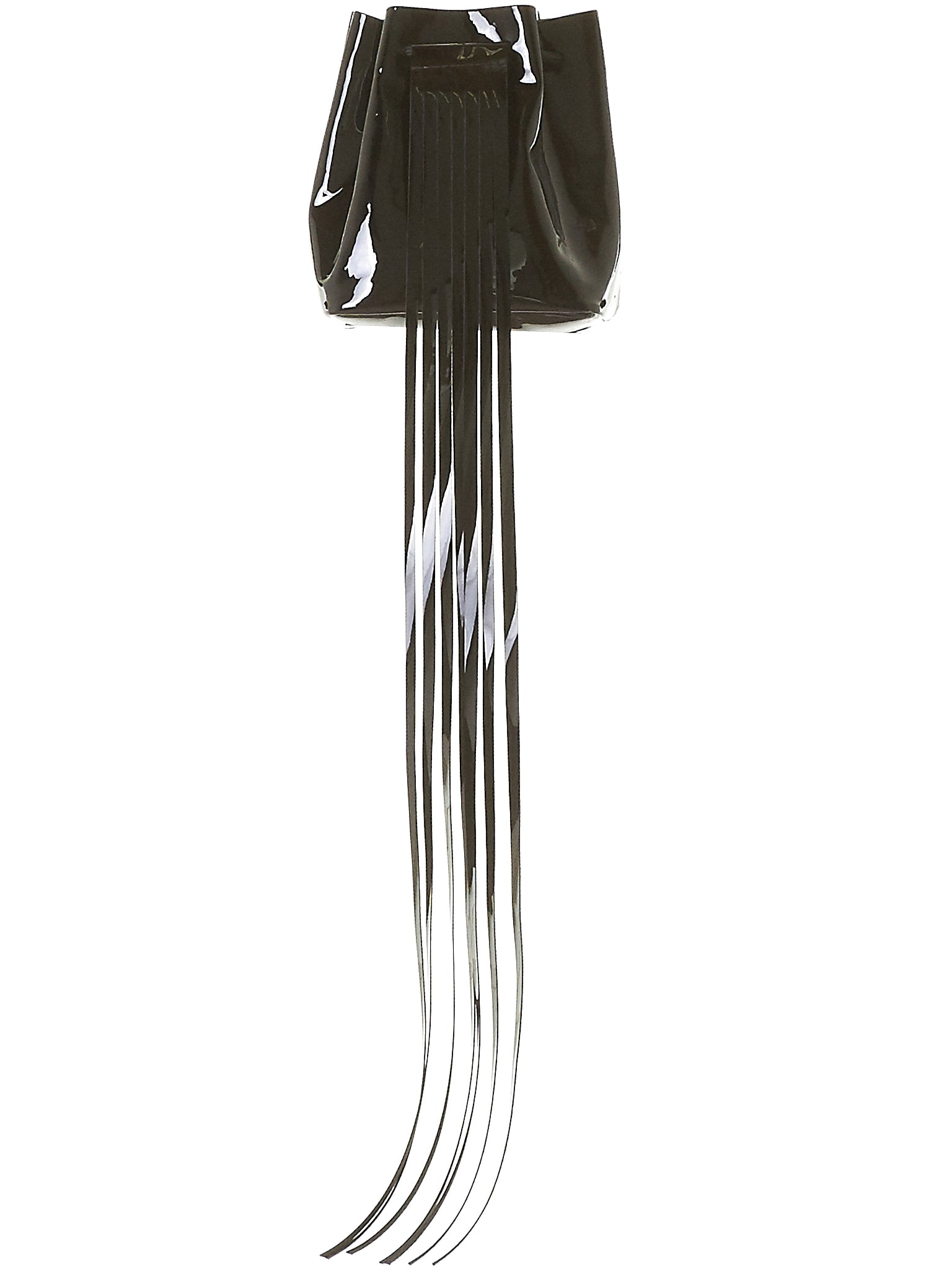 Polished Fringe Bag (3.17 MINI BUCKET BLACK-GLOSSY)