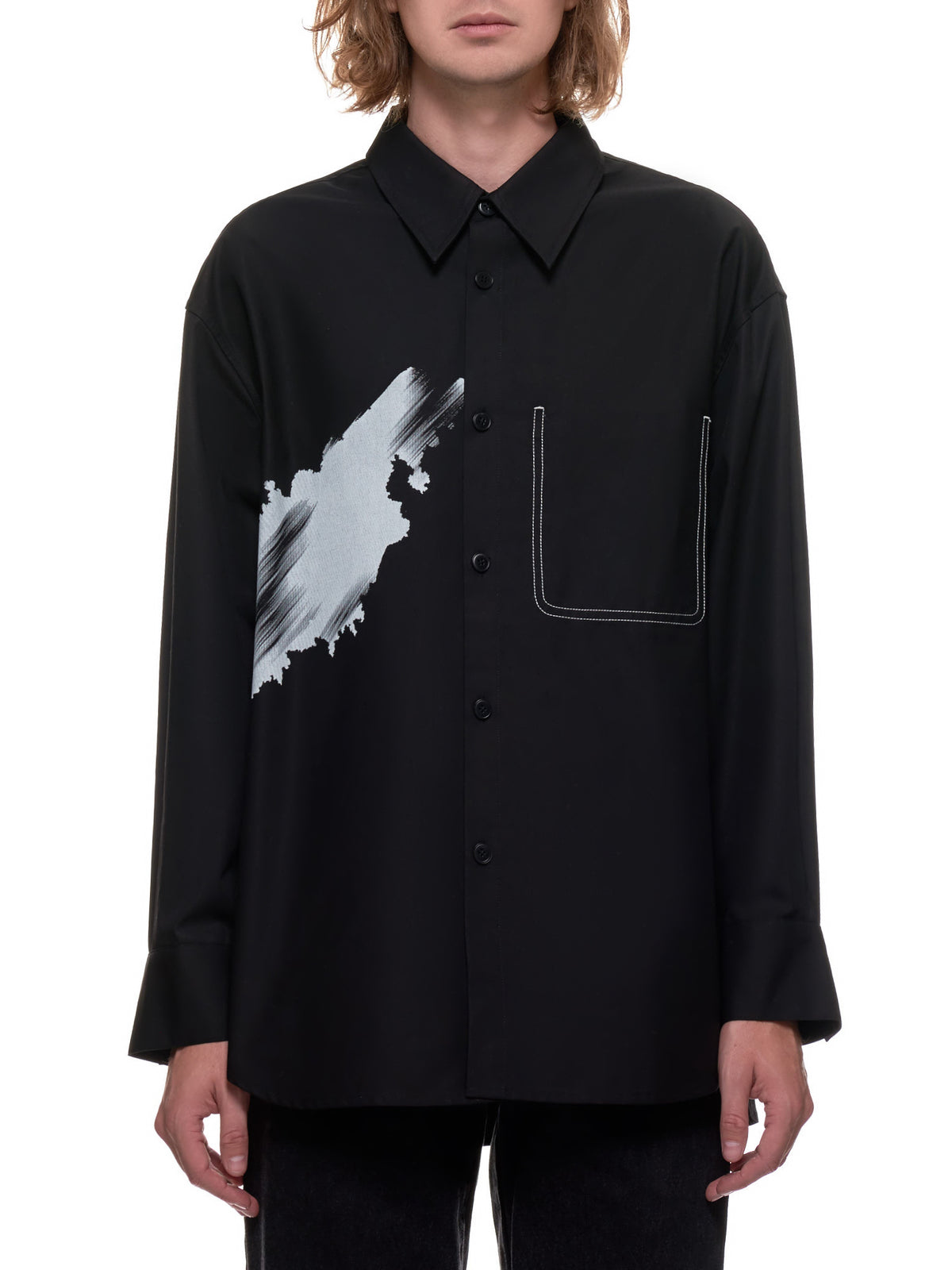 Graphic Inverted Front Pocket Shirt (3001-BLACK)