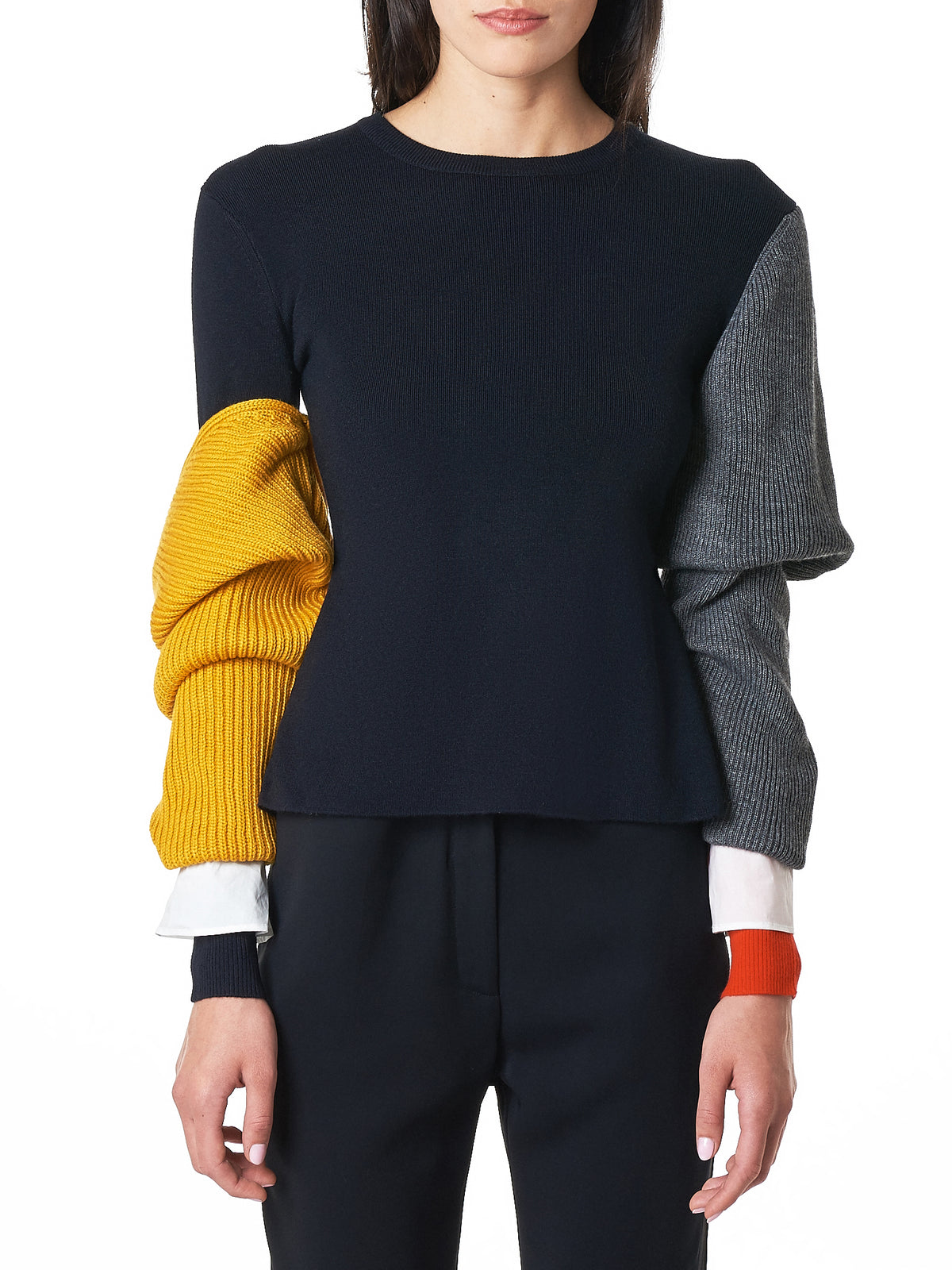 Layered Sleeve Knit Pullover (300BA370-2260-DARK-NAVY)