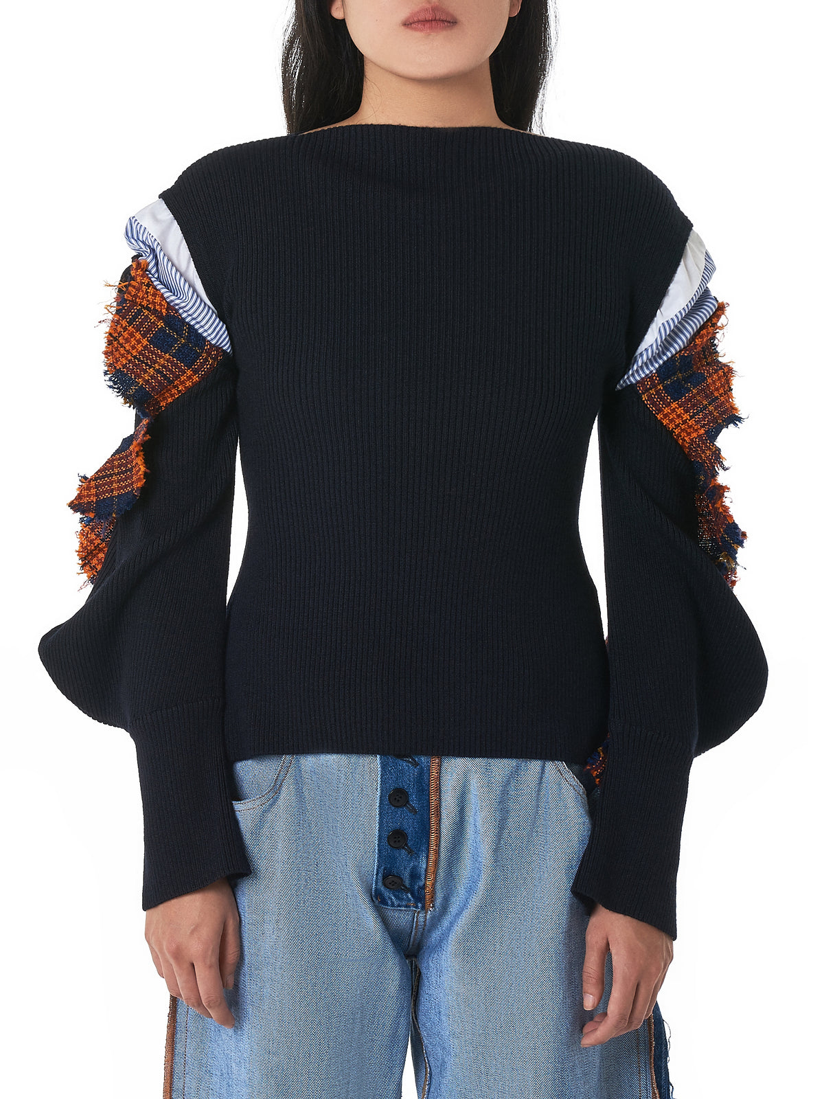 Patchwork-Sleeve Pullover (300BA370-2920-D-NAVY)