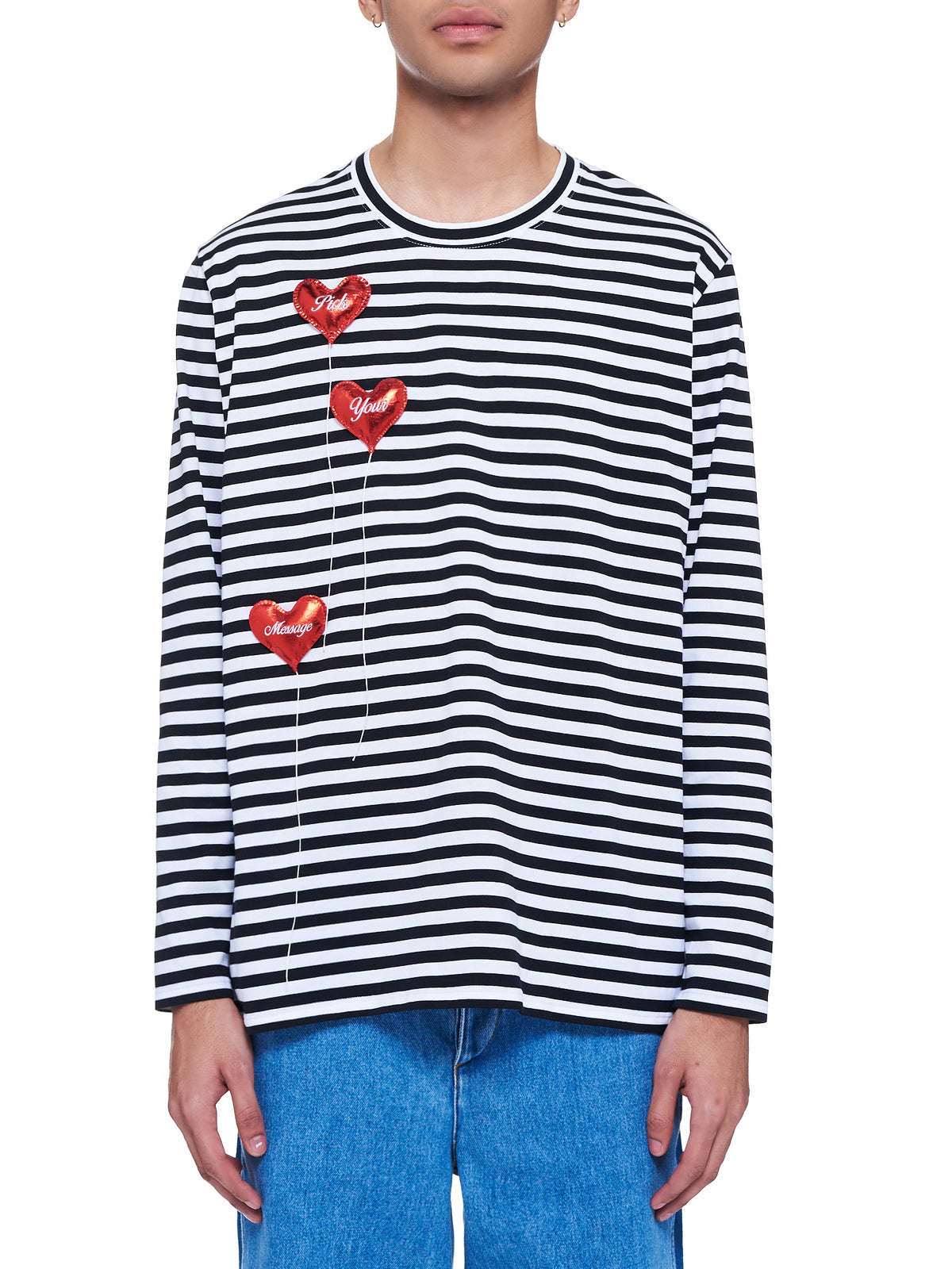 Happy Balloons Stripes Long Sleeve T-Shirt (30CS184-WHITE-BLACK)