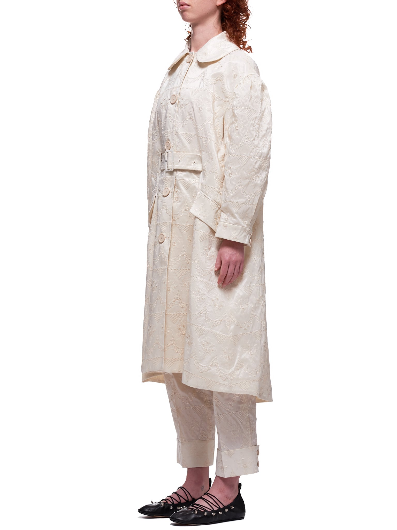 Lace Taffeta Duster Coat (3286-0349-ECRU)
