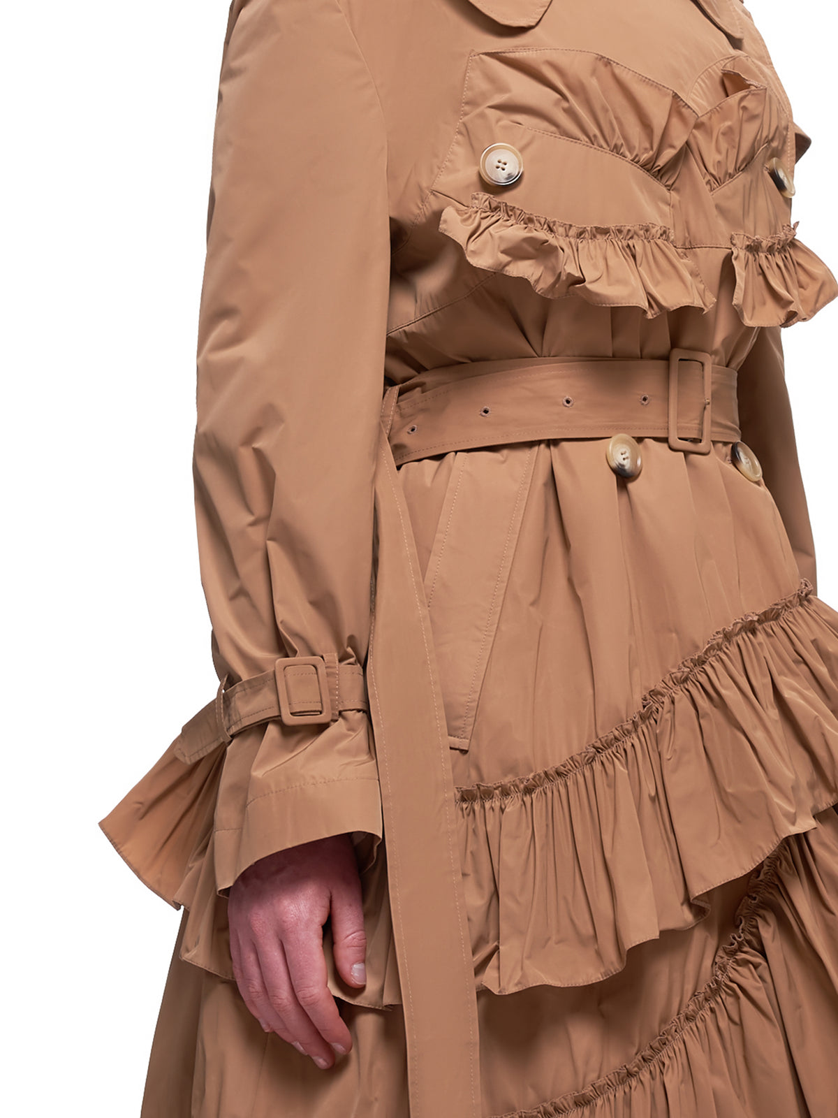Frilled Trench Coat (3289-0355-TAN)