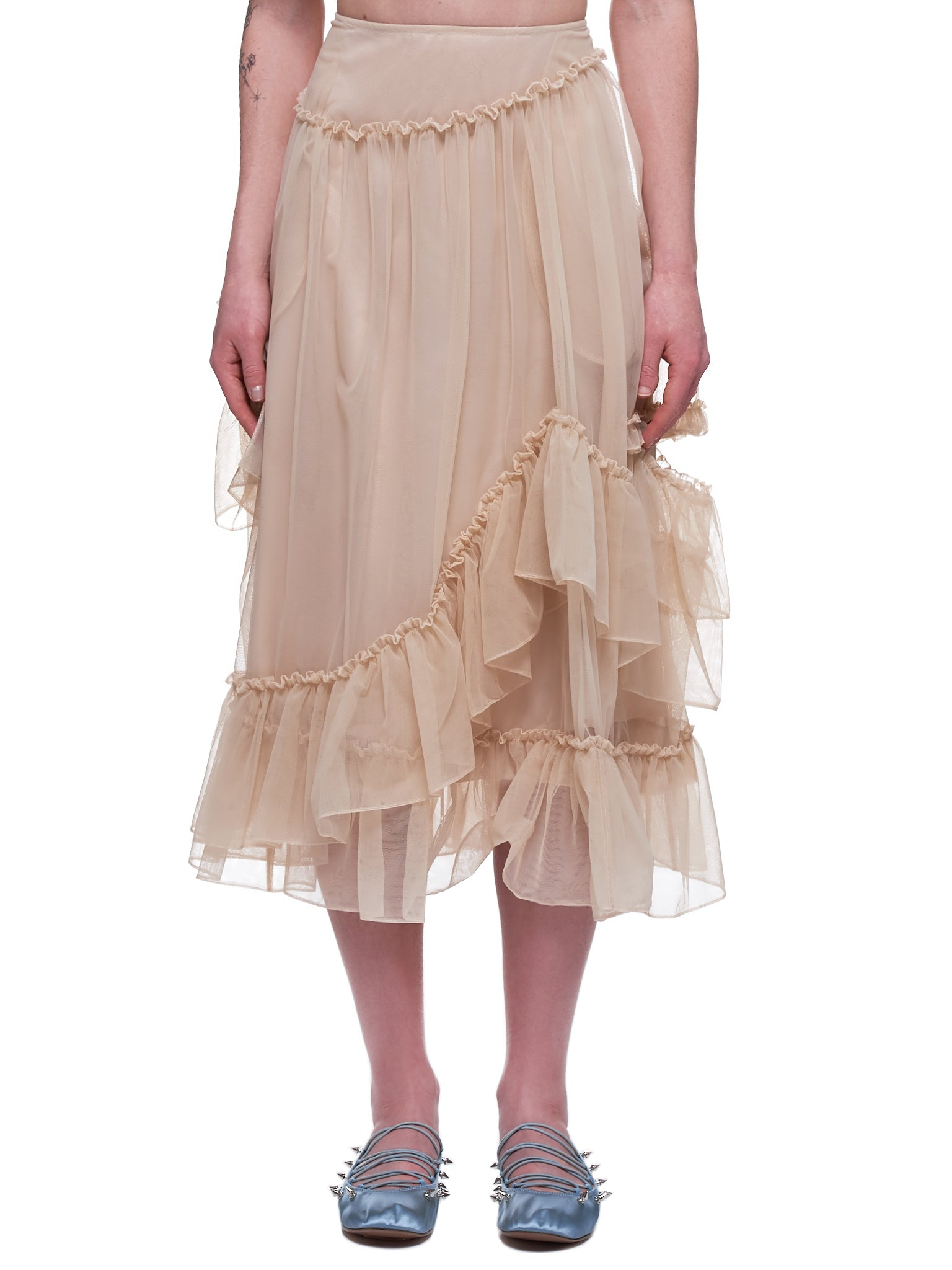 Asymmetrical Double Frill Bite Skirt (3364-0069-NUDE)