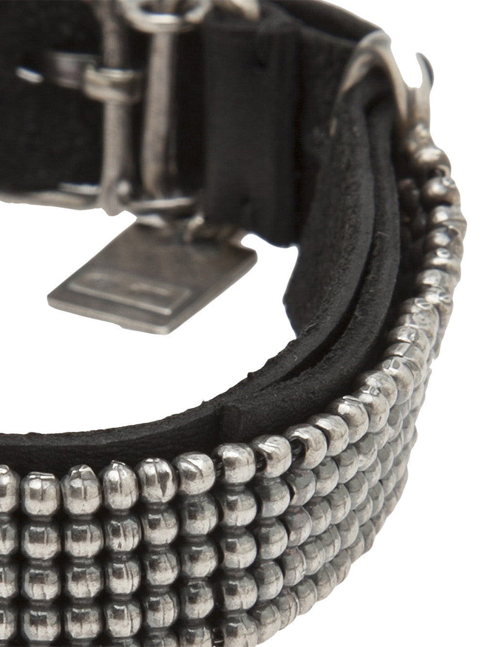 Leather Beaded Bracelet (BR113 SILVER/LEATHER) - H. Lorenzo