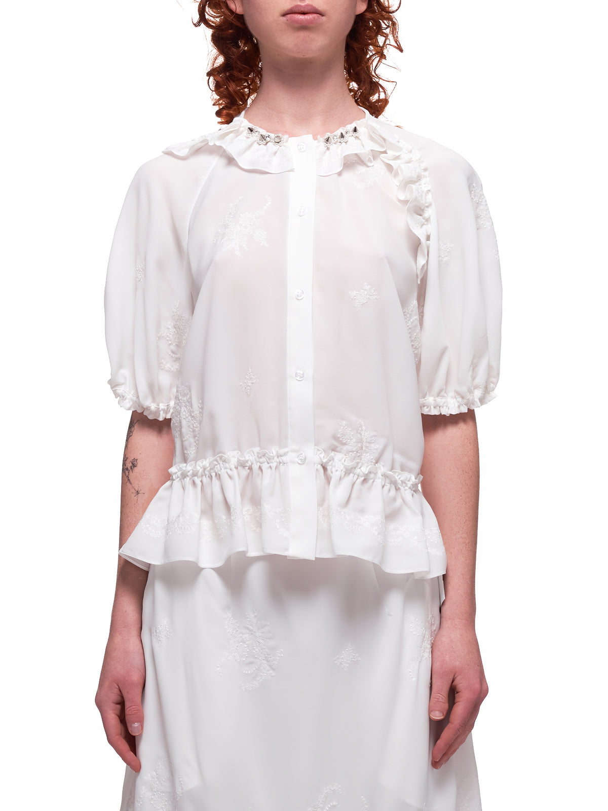 Bubble Button-Up Blouse (3576B-0369-IVORY-PEARL-CLEAR)