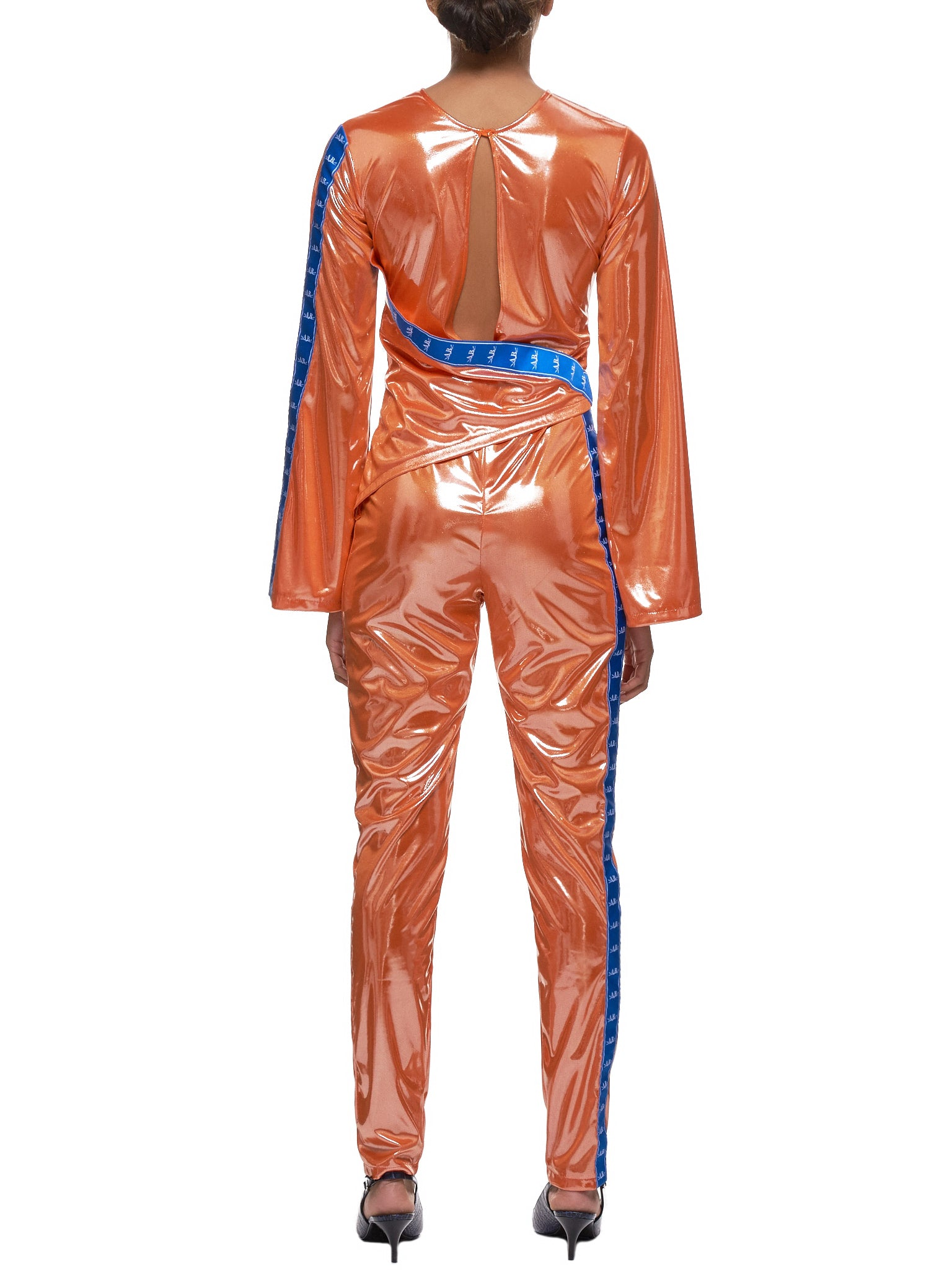 Glossy Bodysuit (36-W-ORANGE-BLUESTRIPES)