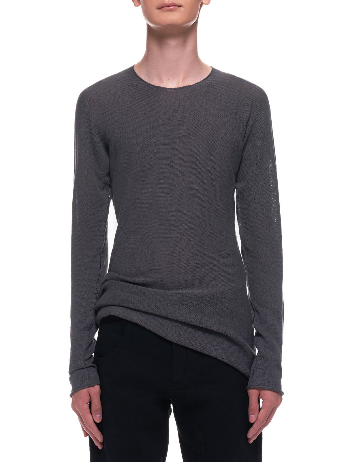 Arched Long Sleeve Shirt (36YMSW251-CO148-MID-GREY-BLACK)