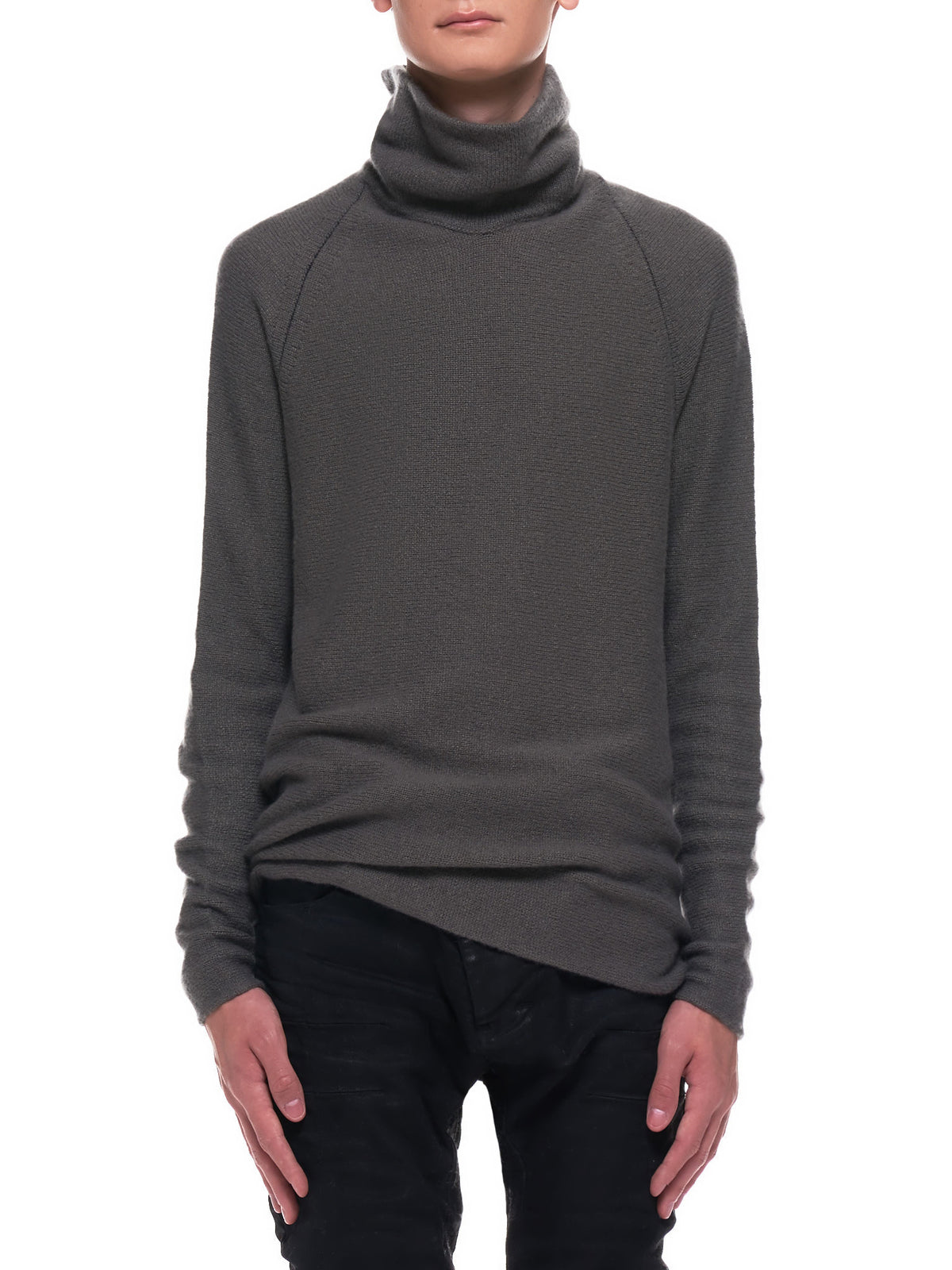 Flat Seam Hi Neck Sweater (36YMSW259-WS90-KHAKI-BLACK)