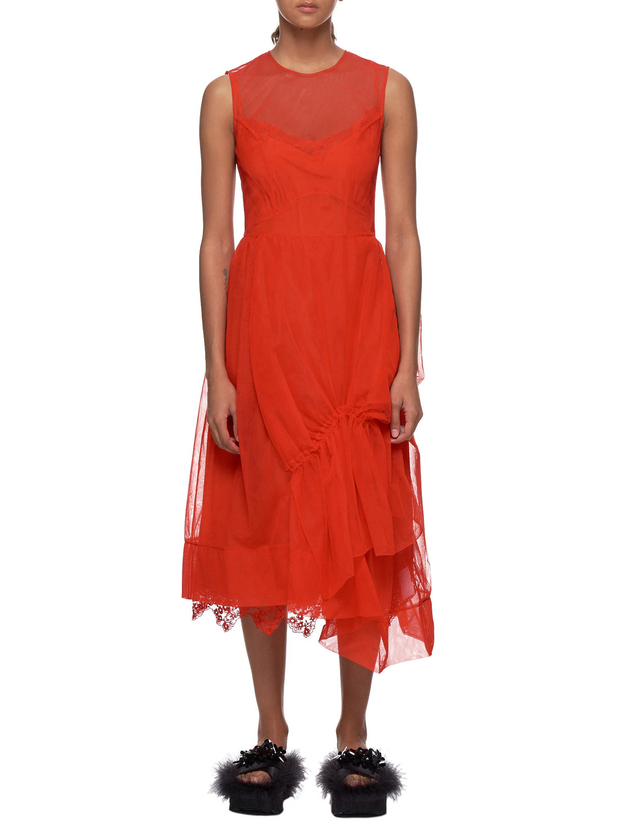 Gathered Asymmetric Dress (3738-006-RED)
