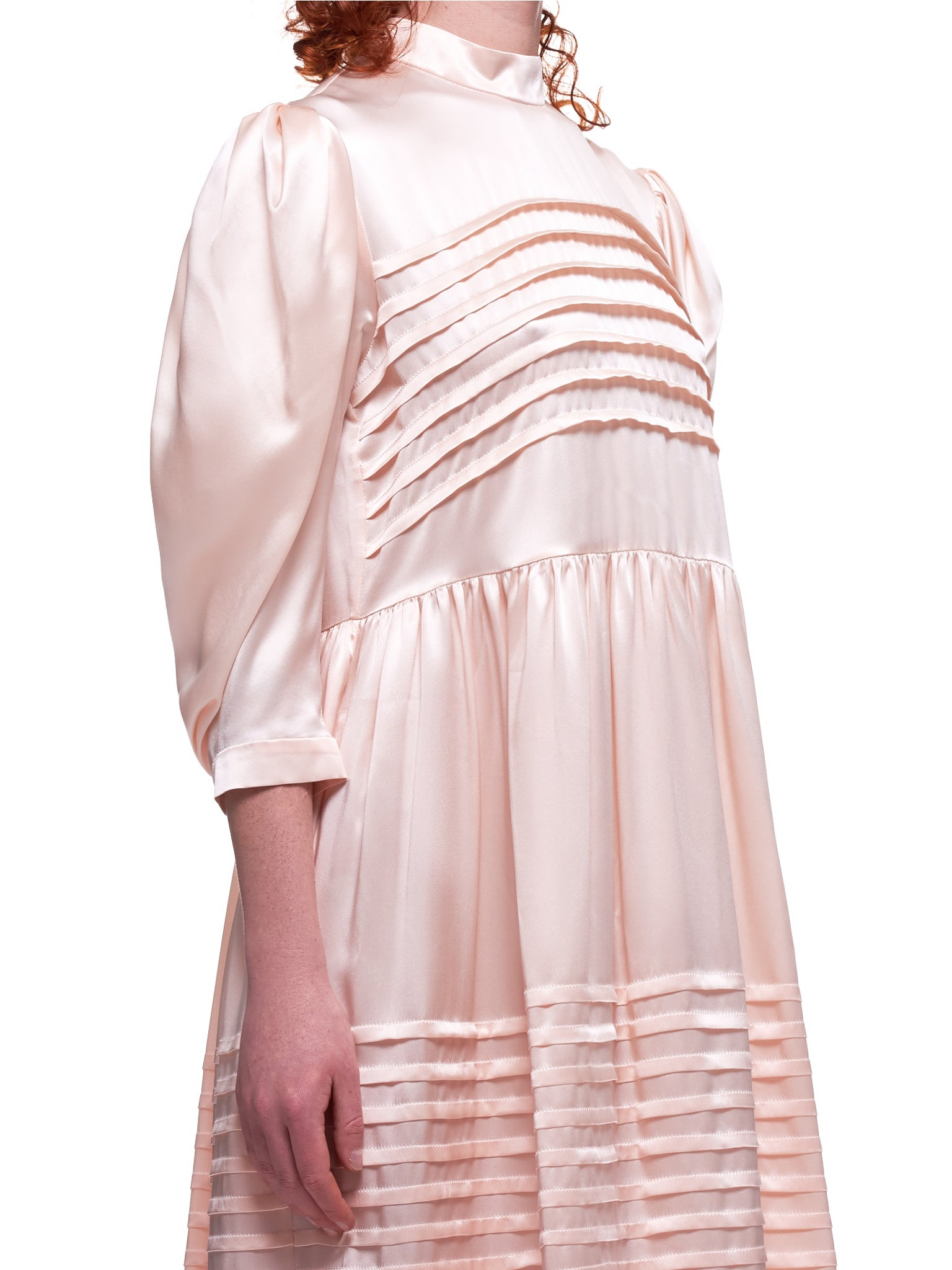 Pleated Priest Collar Dress (3788-0318-PINK)