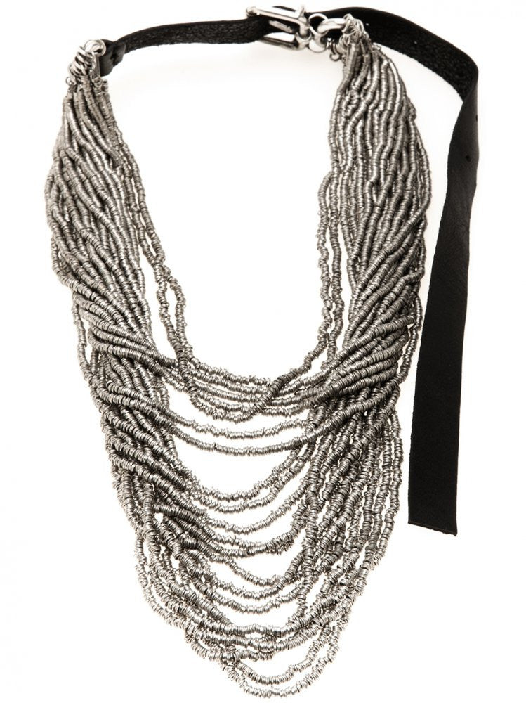 Stacked Silver Strands Necklace (CN958 SILVER) - H. Lorenzo