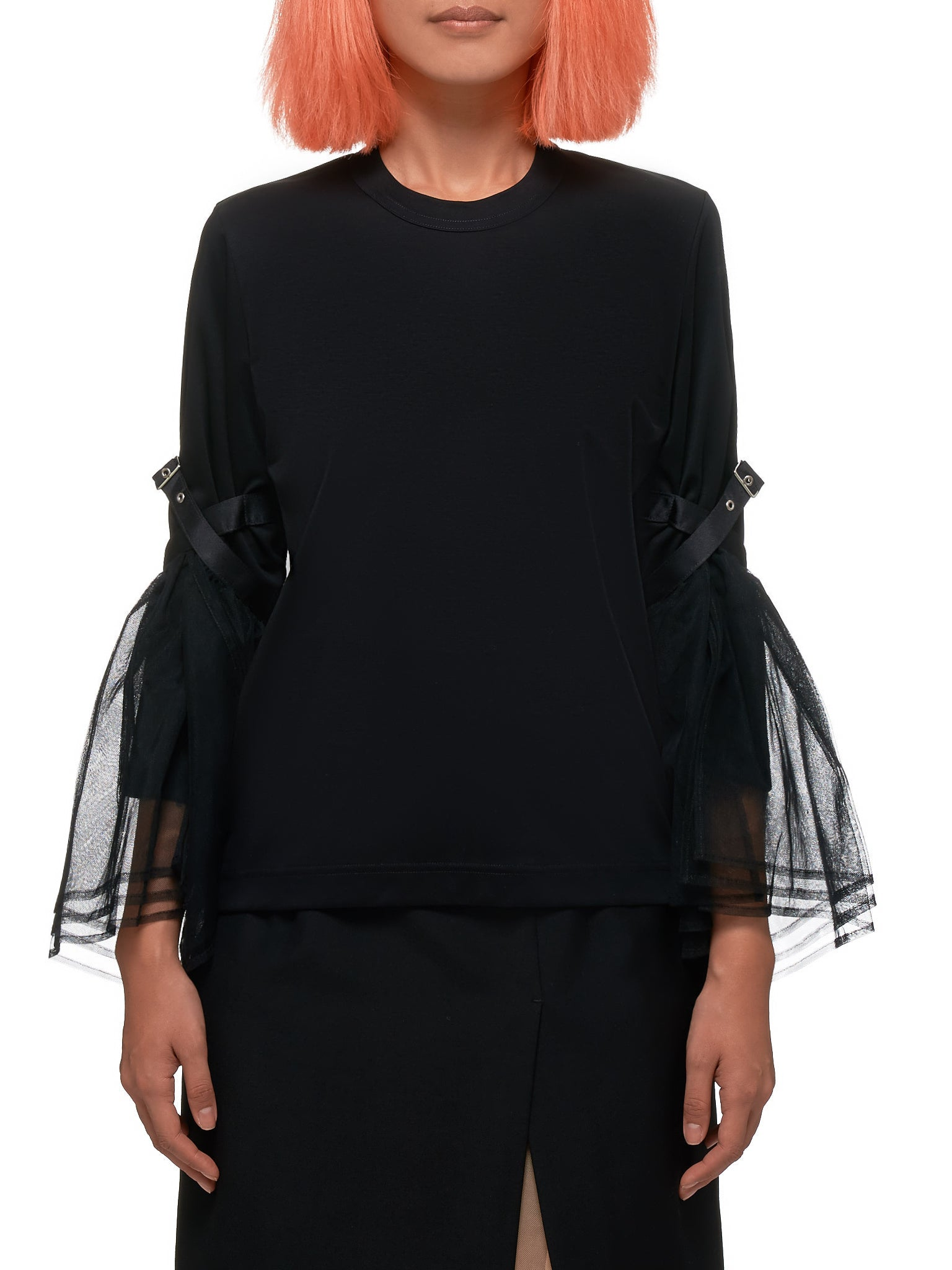 Long Sleeve Tulle Top by Noir By Kei Ninomiya
