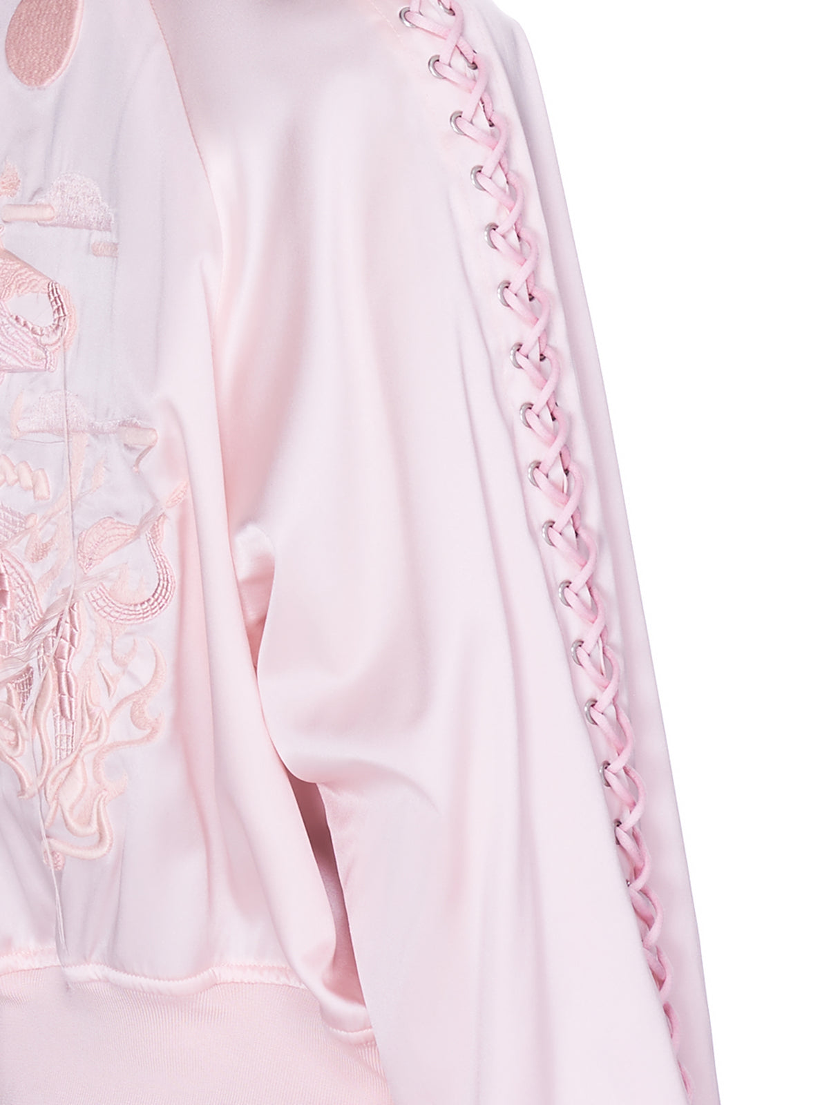 Silk Lace Up Bomber (3G-J013-051-PINK)