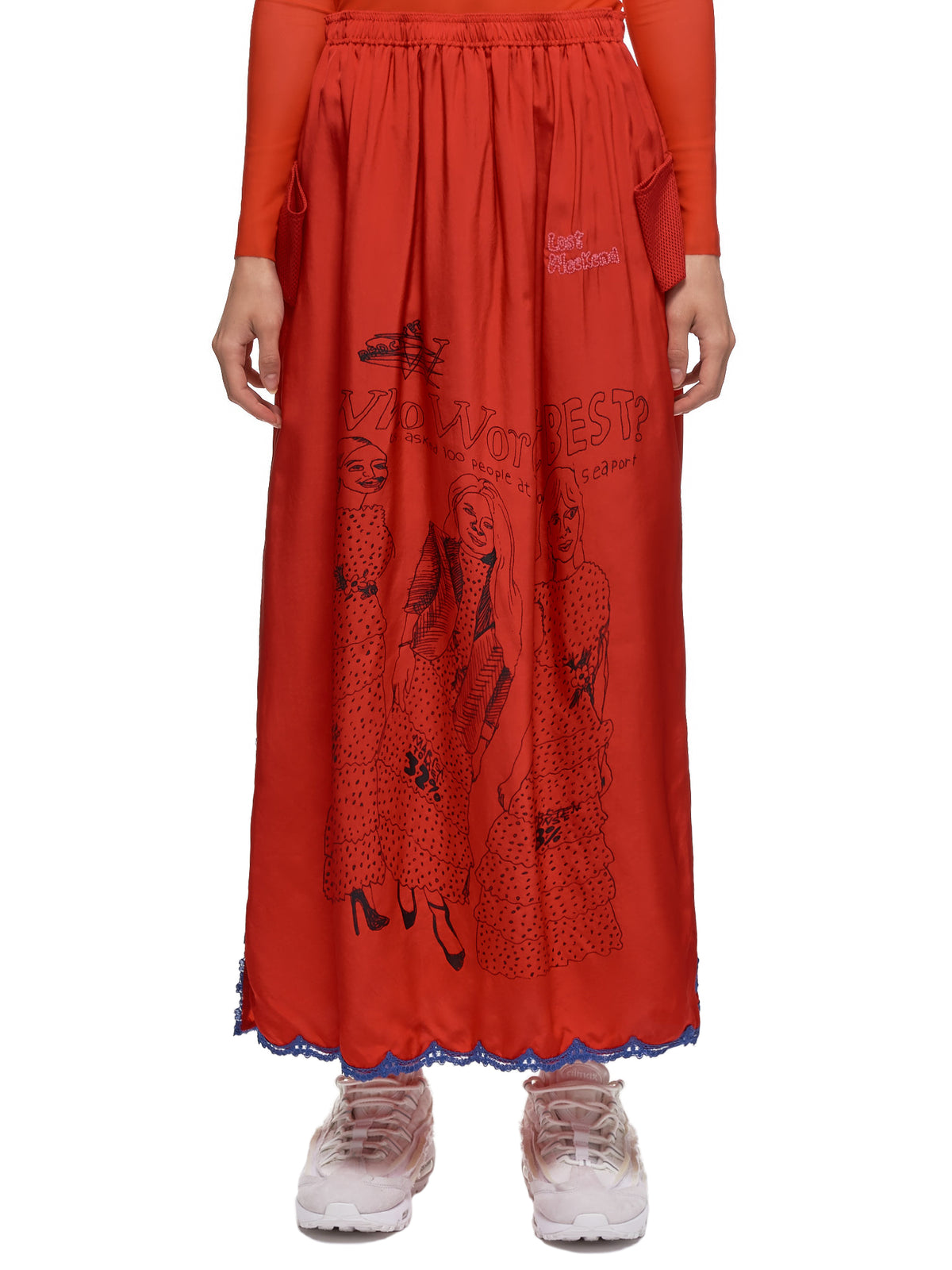 Lost Weekend Lace Trimmed Maxi Skirt (46-WWB-RED)